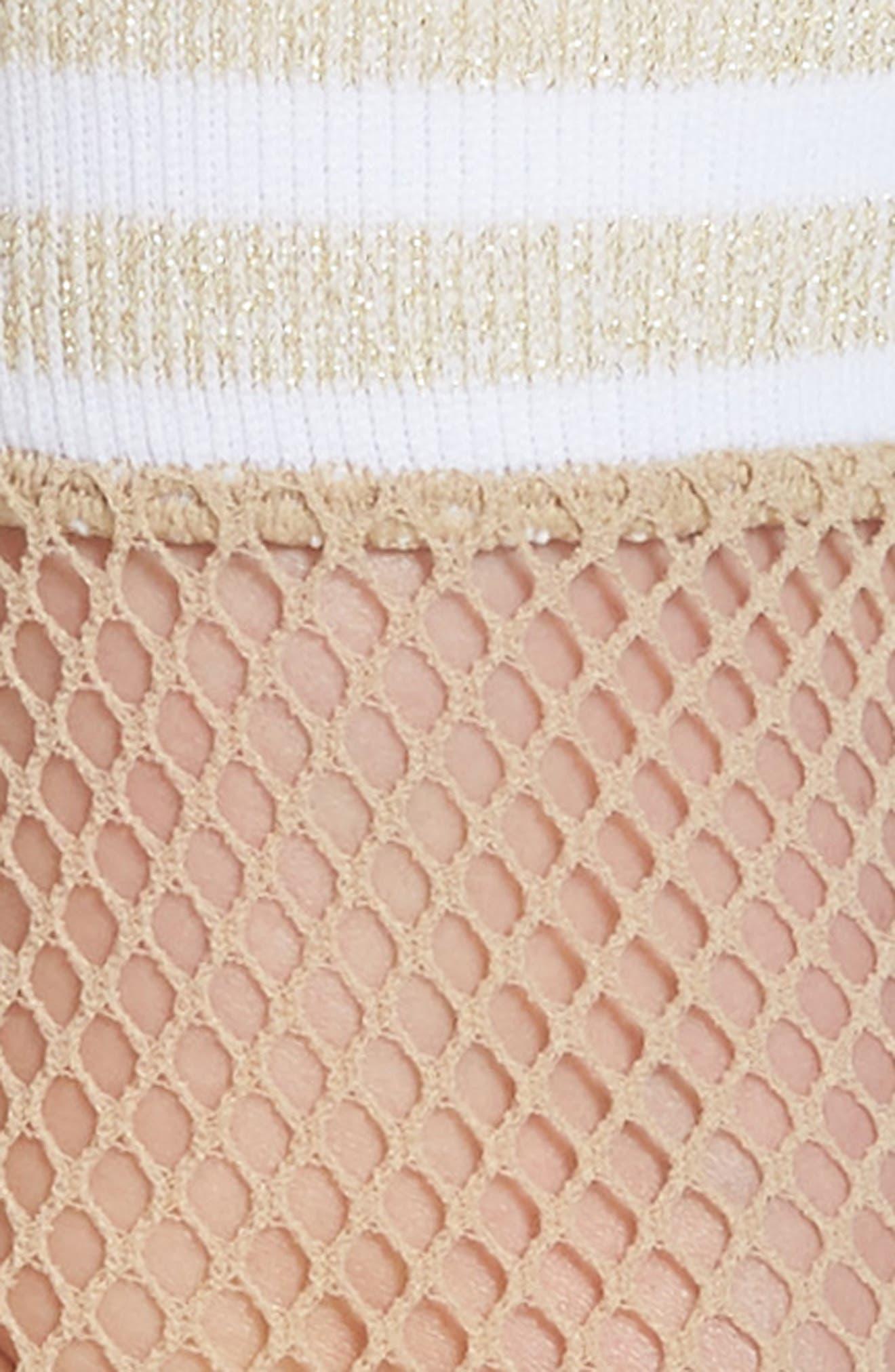 Varsity Stripe Fishnet Crew Socks,                             Alternate thumbnail 2, color,                             Nude