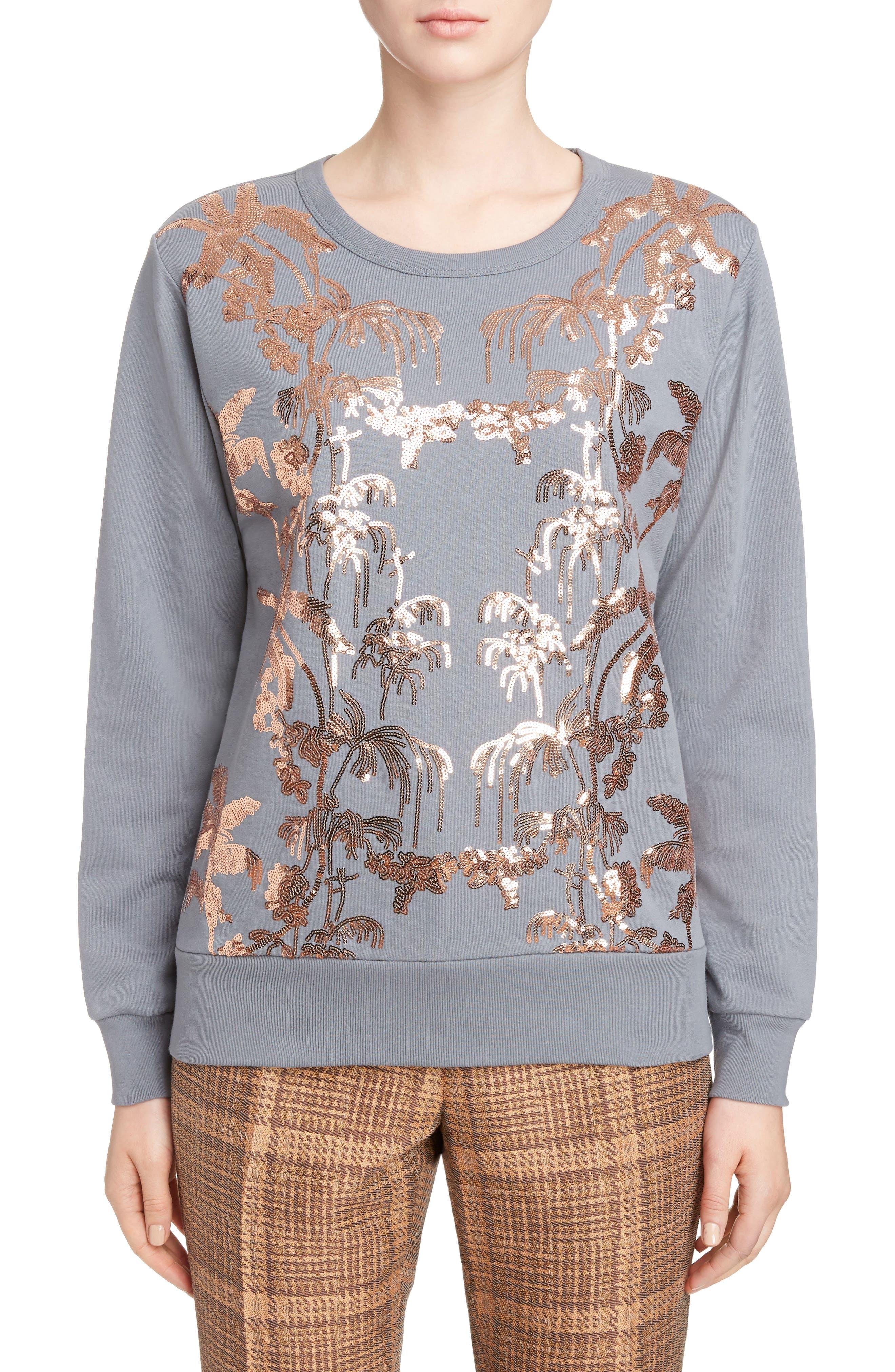 Sequin Embellished Sweatshirt,                             Main thumbnail 1, color,                             Grey