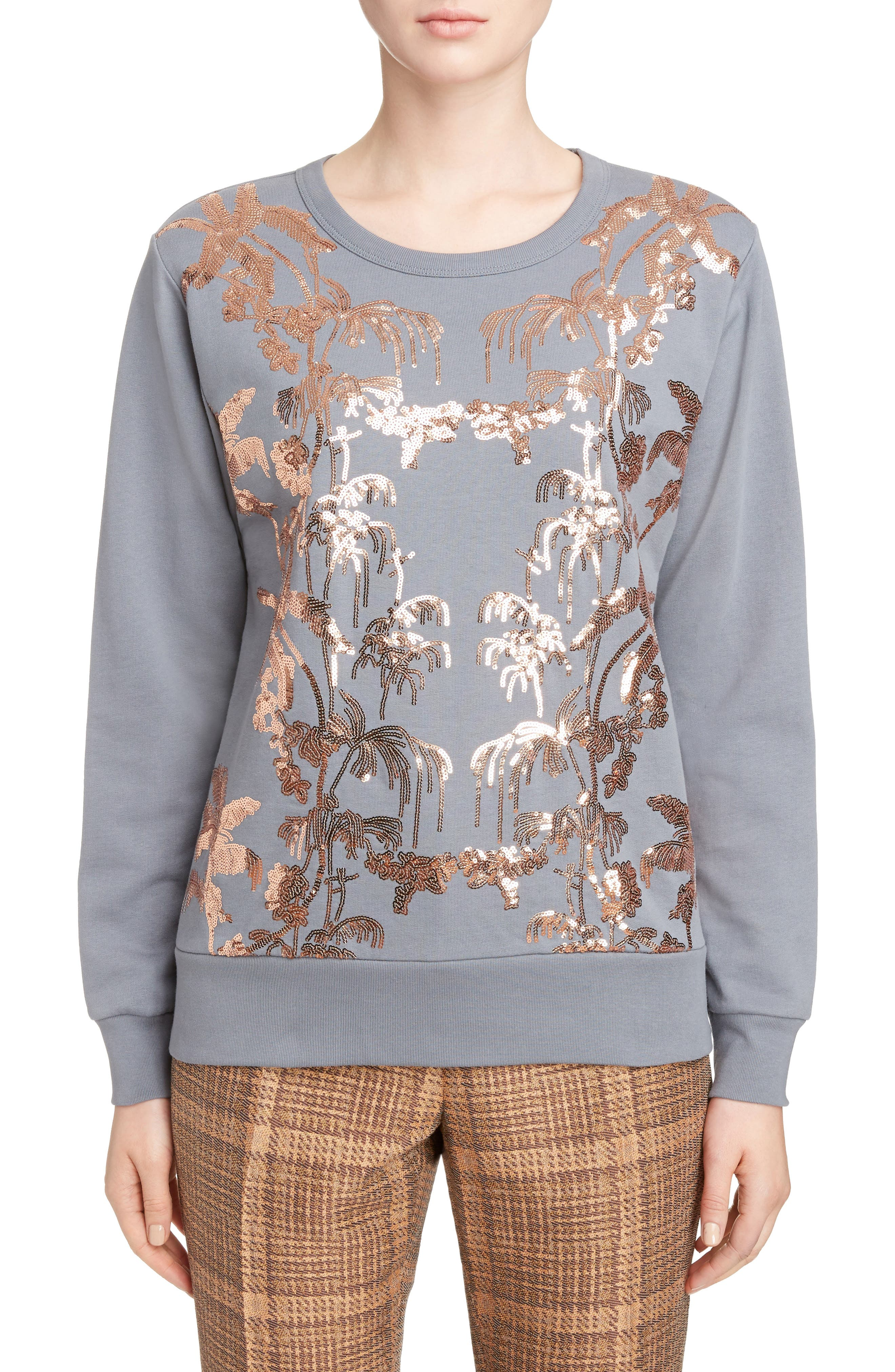 Sequin Embellished Sweatshirt,                         Main,                         color, Grey