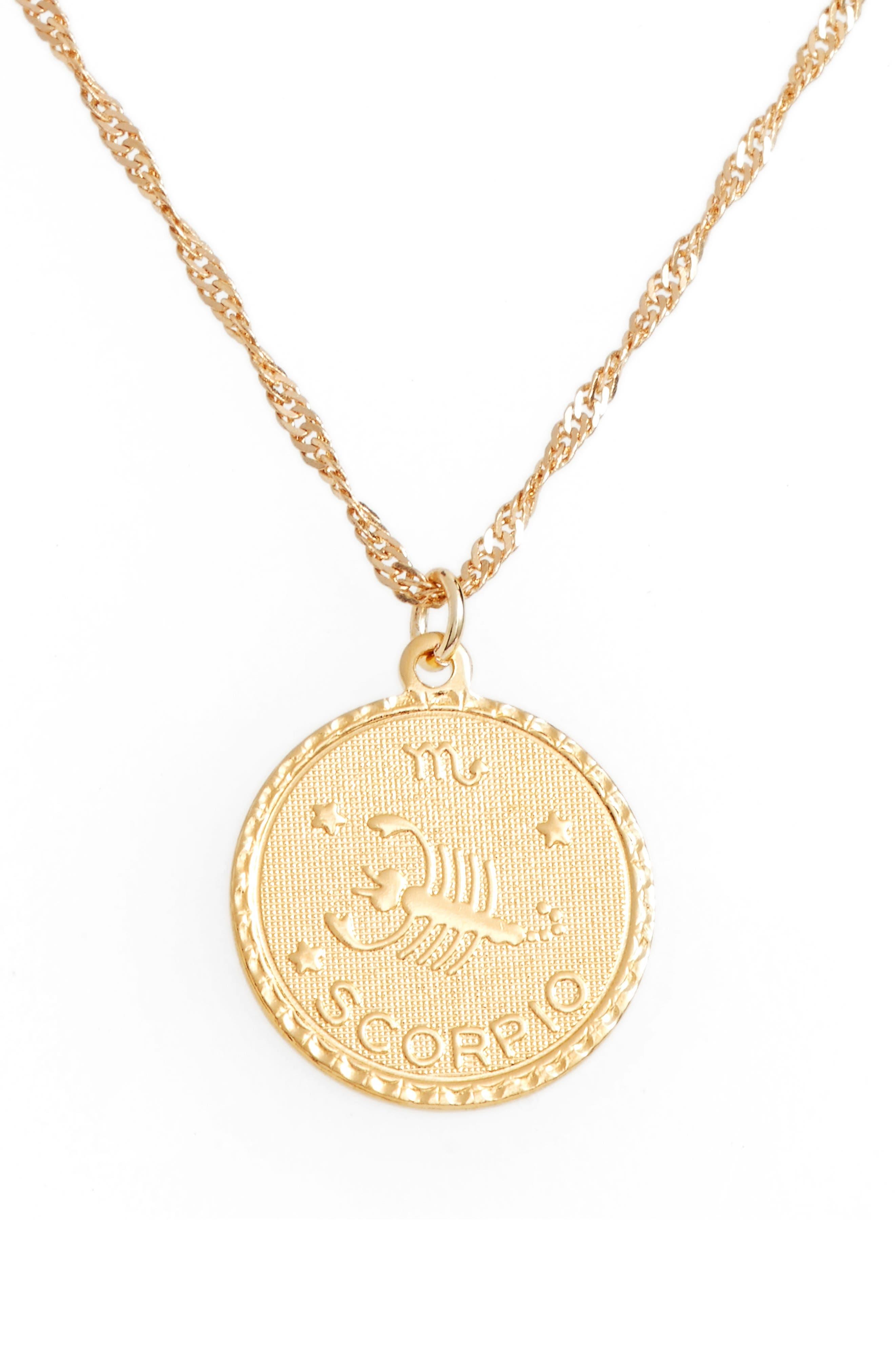 Jewelry Ascending Zodiac Medallion Necklace,                         Main,                         color, Scorpio