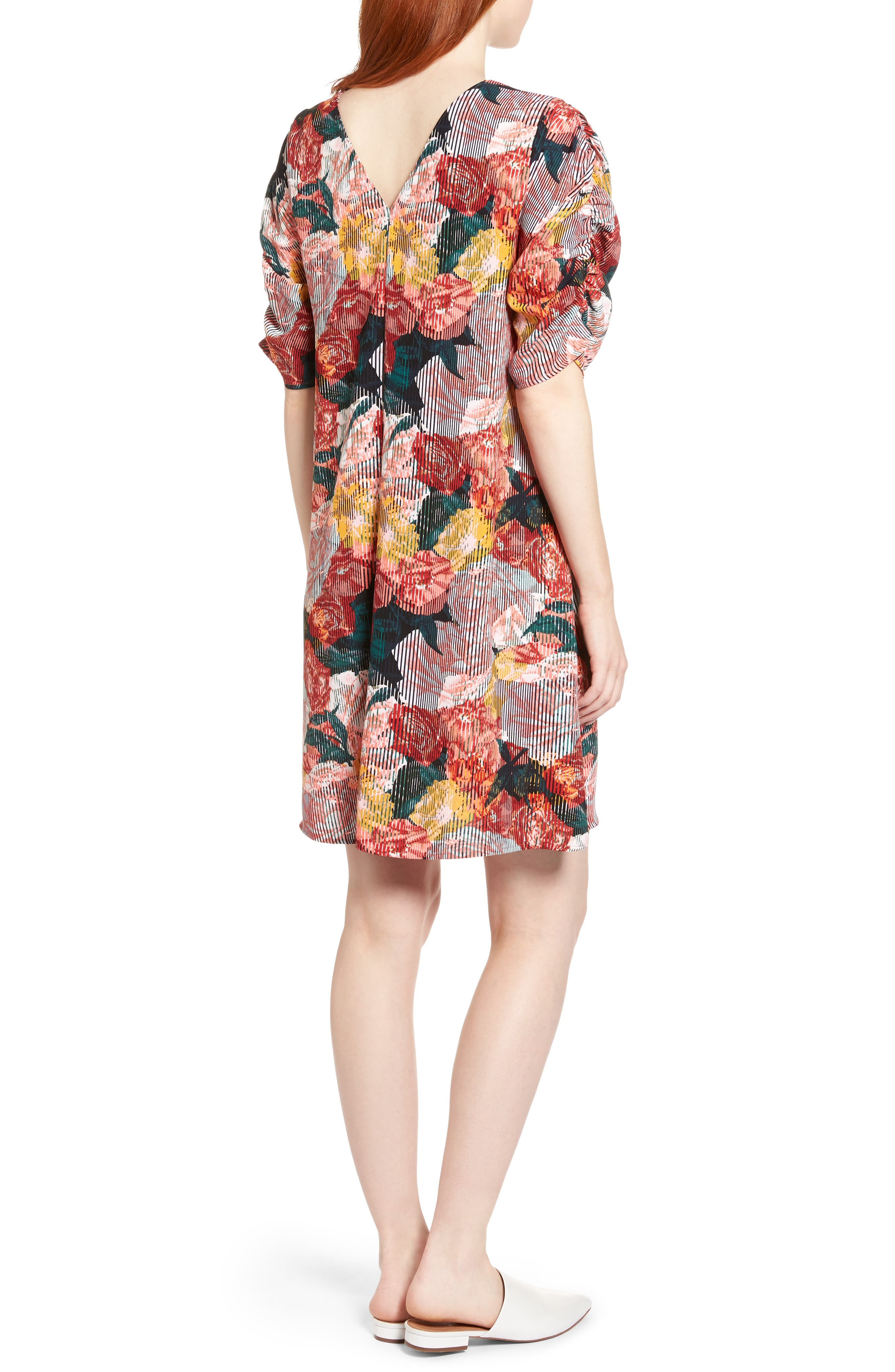 Ruched Sleeve Crepe Dress,                             Alternate thumbnail 2, color,                             Coral Fragment Floral