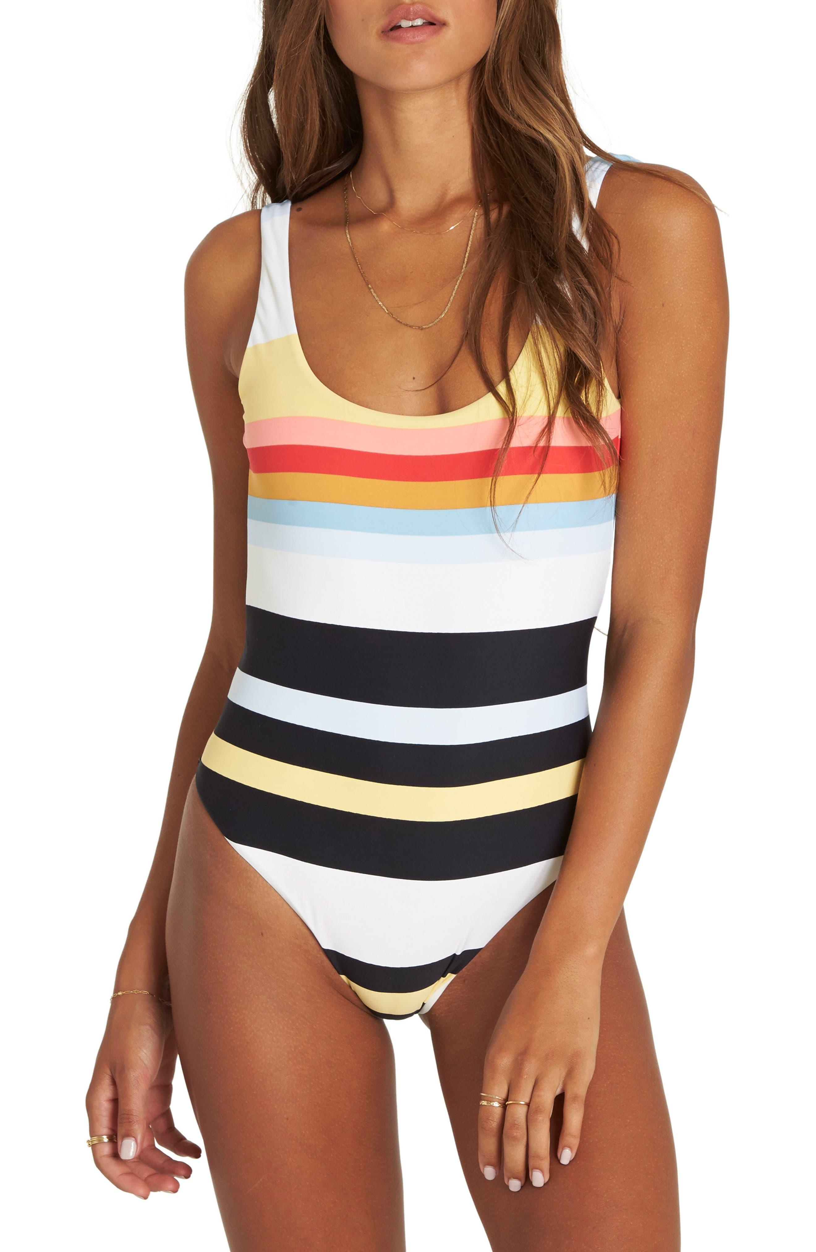 Baja Break One-Piece Swimsuit,                             Main thumbnail 1, color,                             White Multi