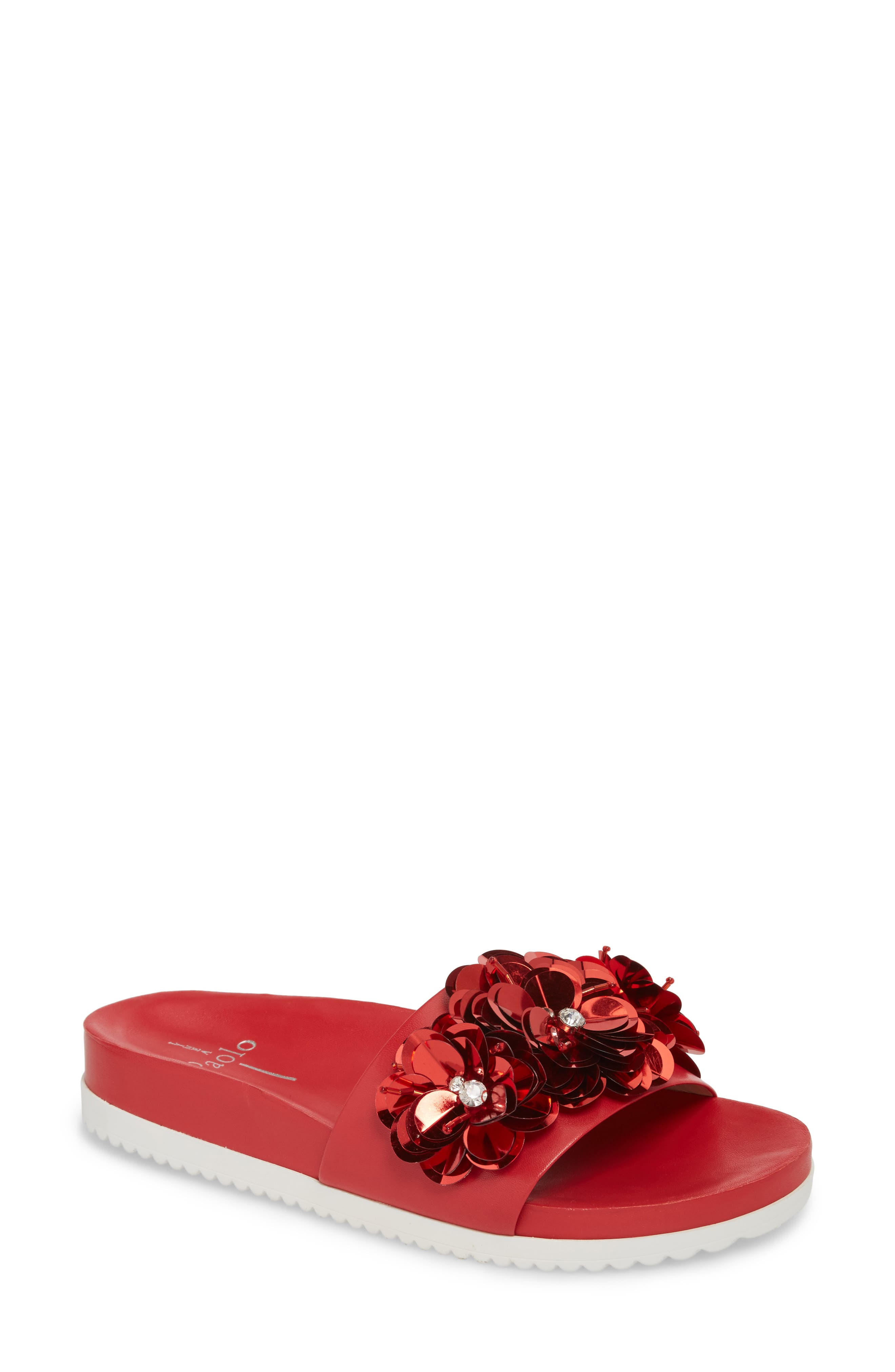 Lotus Embellished Flower Sandal Slide,                             Main thumbnail 1, color,                             Red Fabric
