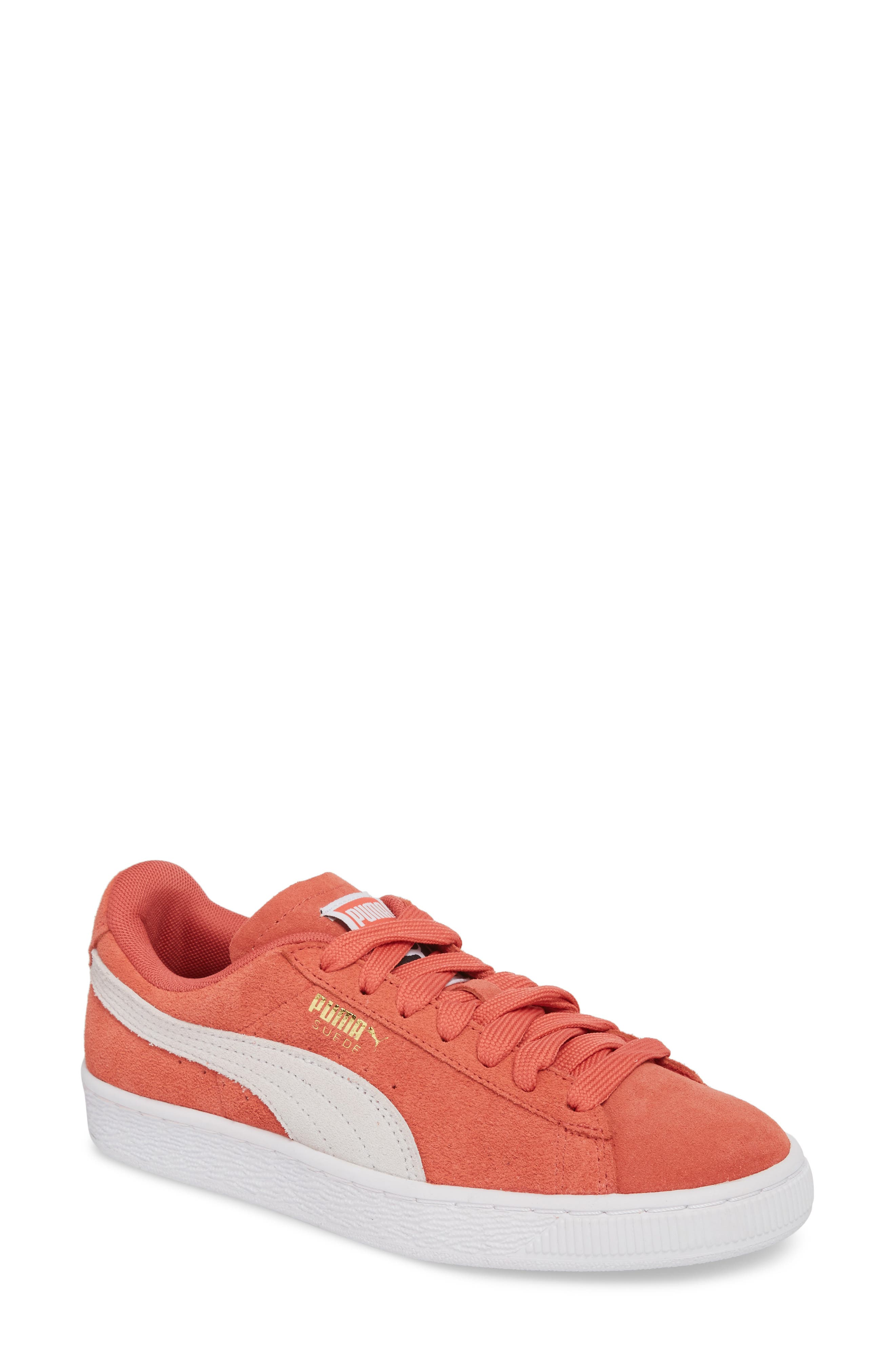 Suede Sneaker,                             Main thumbnail 1, color,                             Spiced Coral/ Puma White