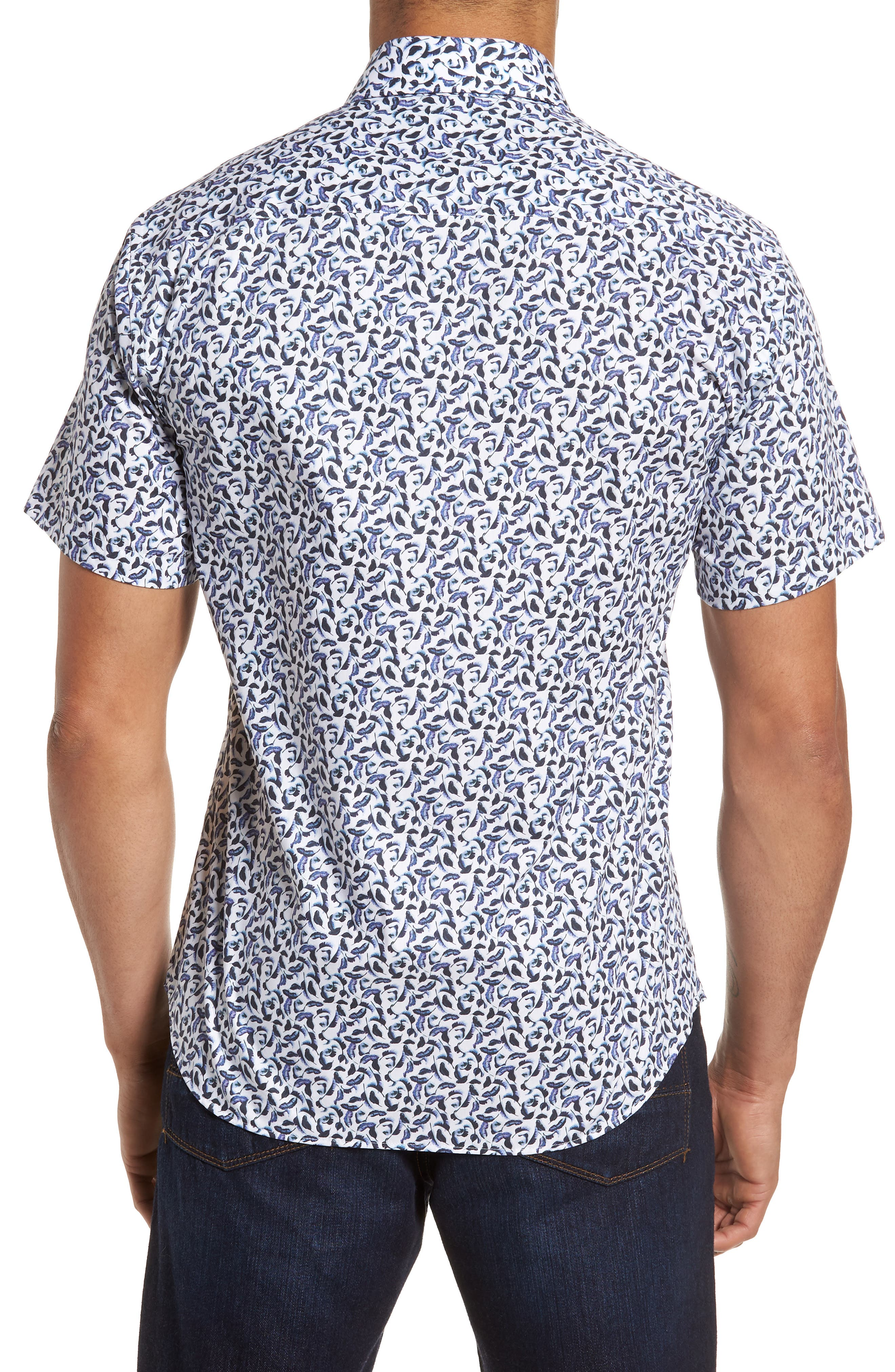 Slim Fit Feather Print Sport Shirt,                             Alternate thumbnail 2, color,                             White Navy Leaves