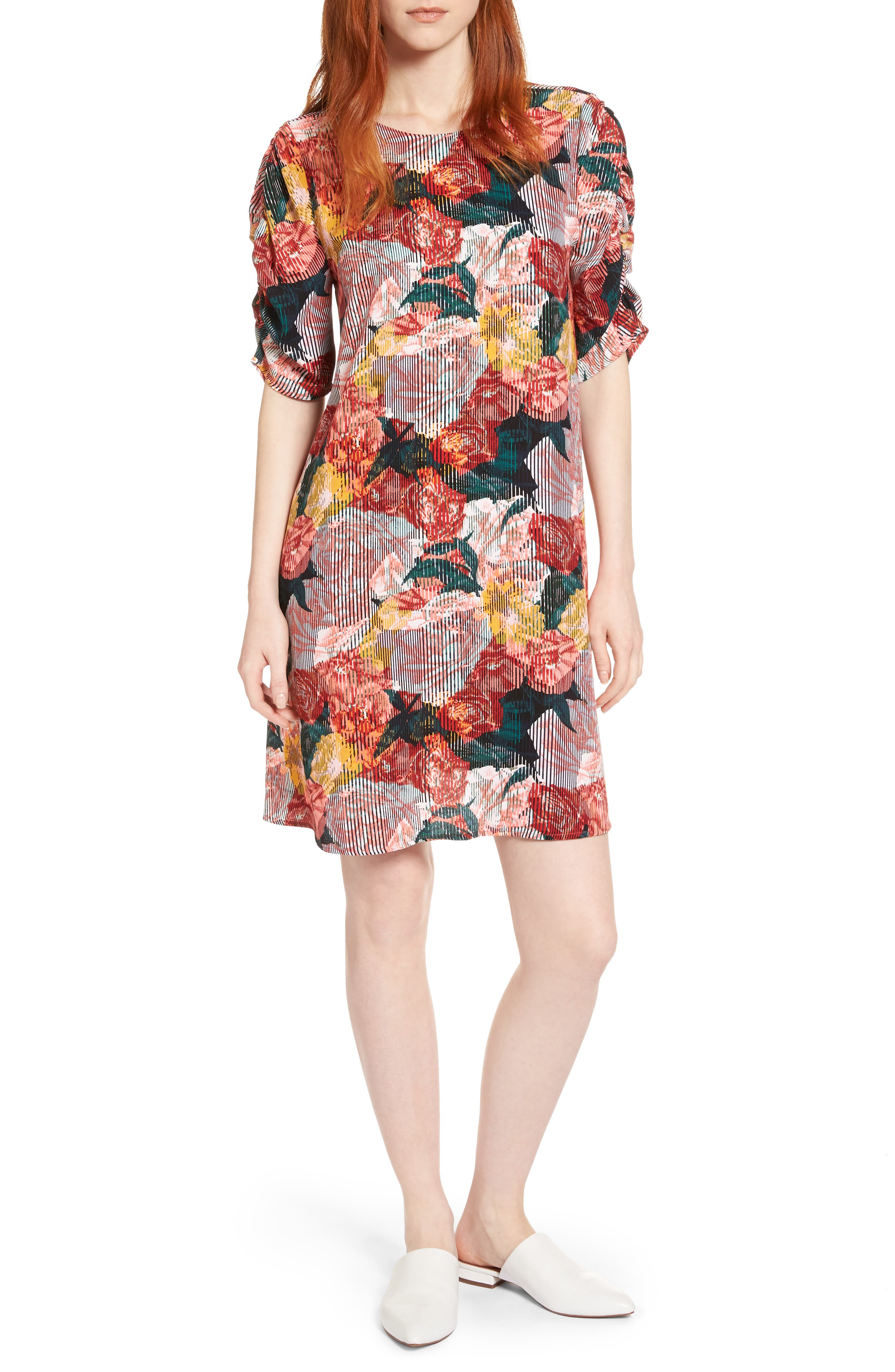 Ruched Sleeve Crepe Dress,                         Main,                         color, Coral Fragment Floral
