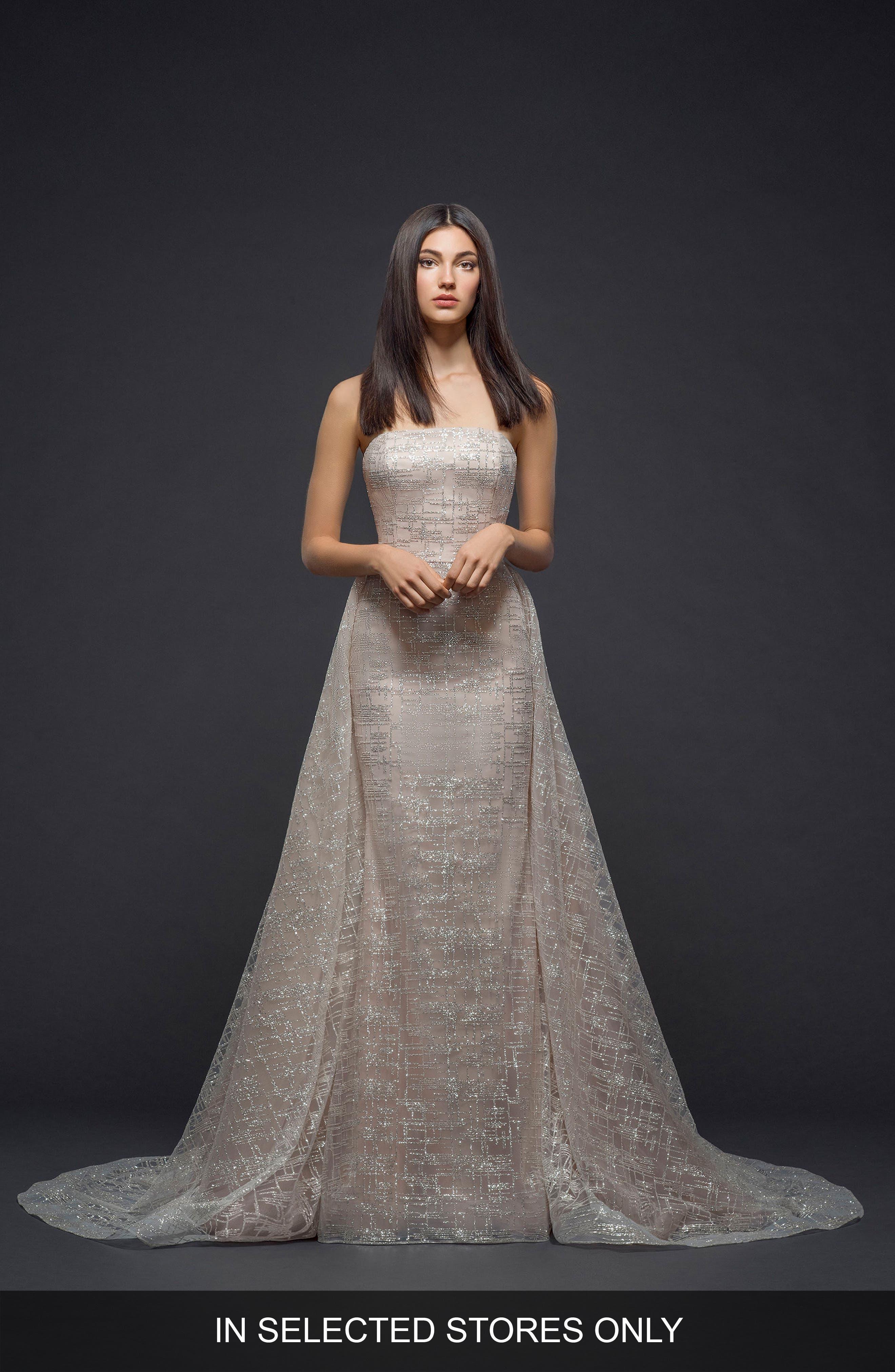 Lazaro Sparkle Plaid Strapless Gown