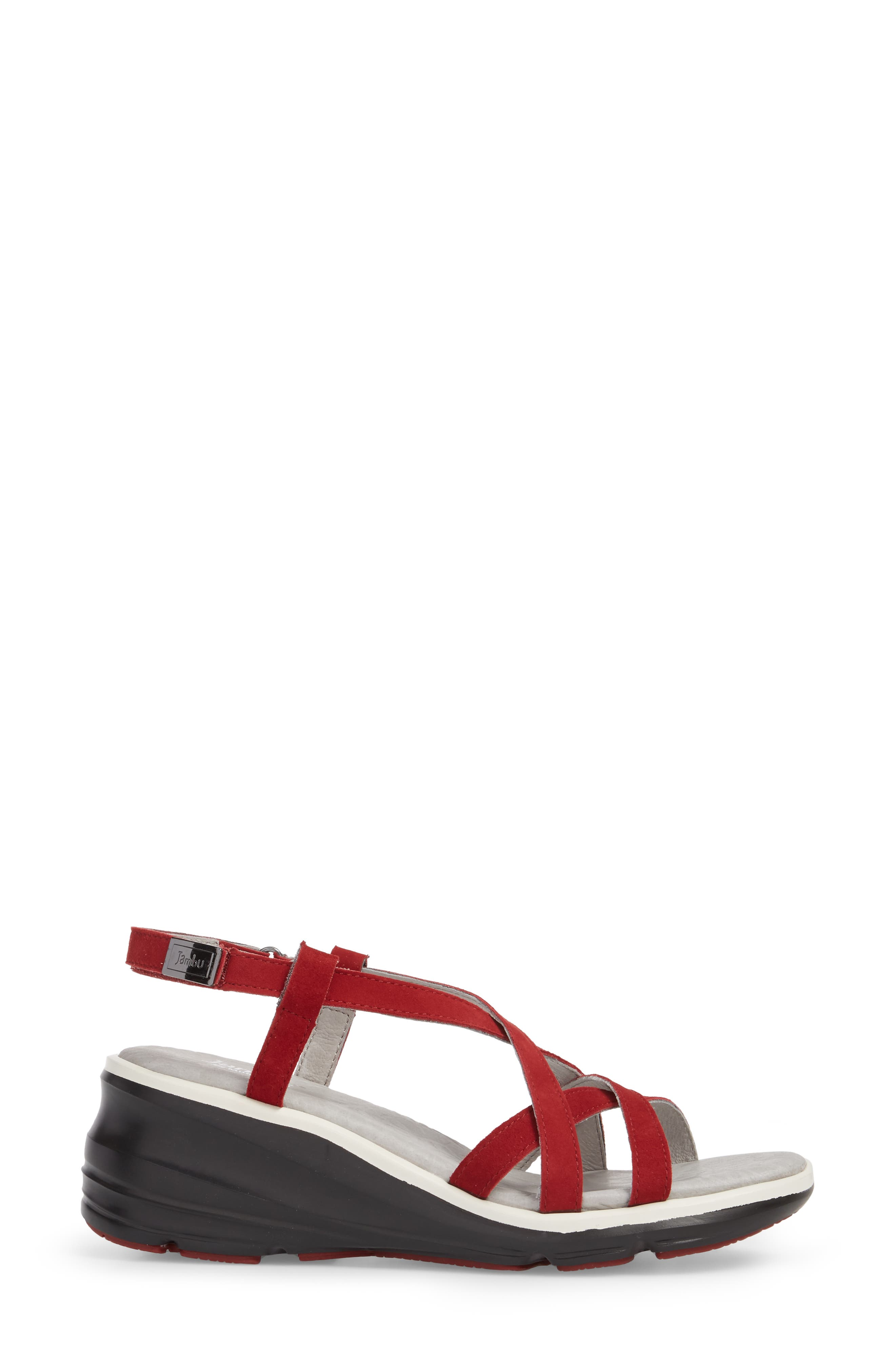 Ginger Wedge Sandal,                             Alternate thumbnail 3, color,                             Red Suede