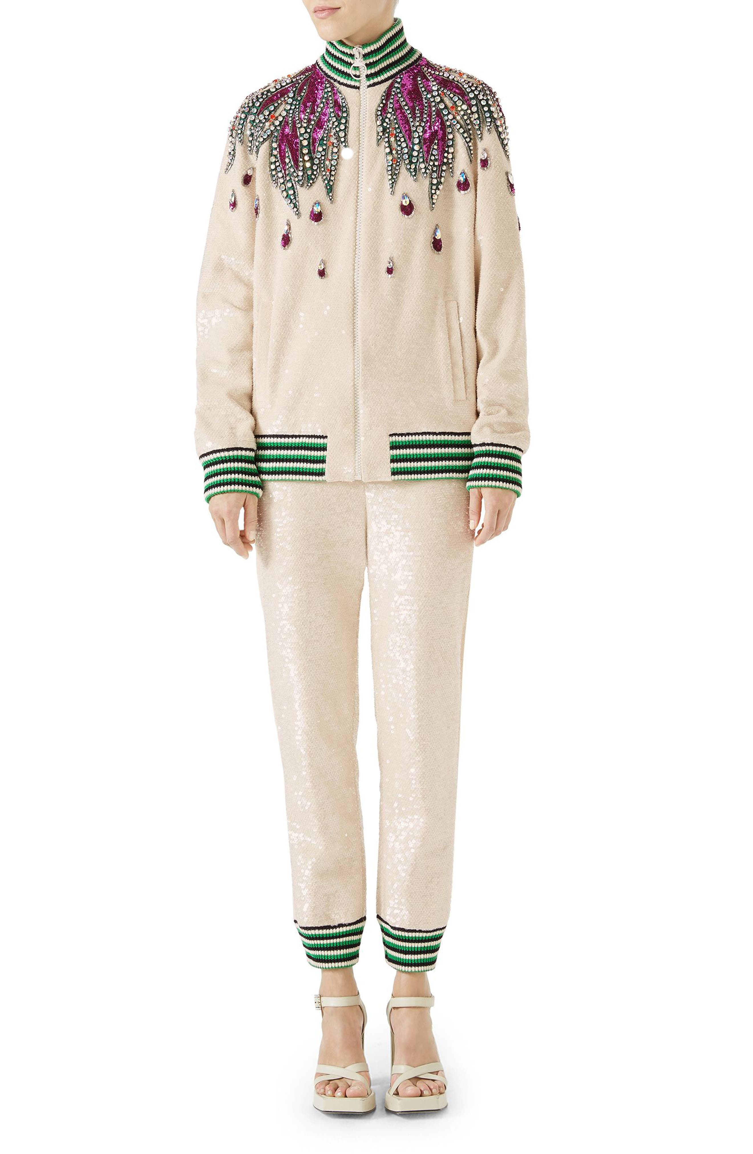 Embellished Track Jacket,                             Alternate thumbnail 4, color,                             Gardenia/ Multicolor