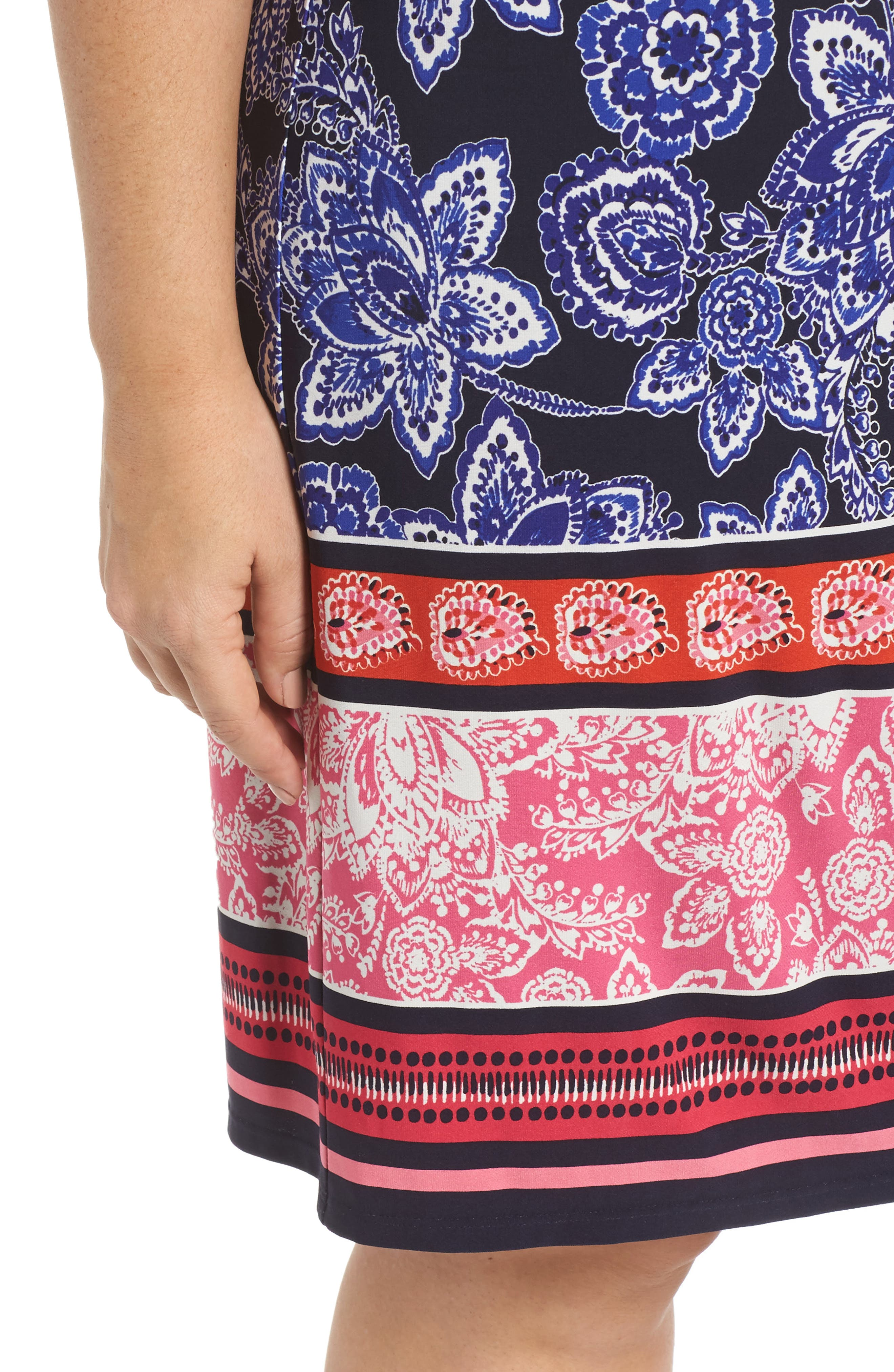 Print Shift Dress,                             Alternate thumbnail 4, color,                             Navy/ Pink/ Orange