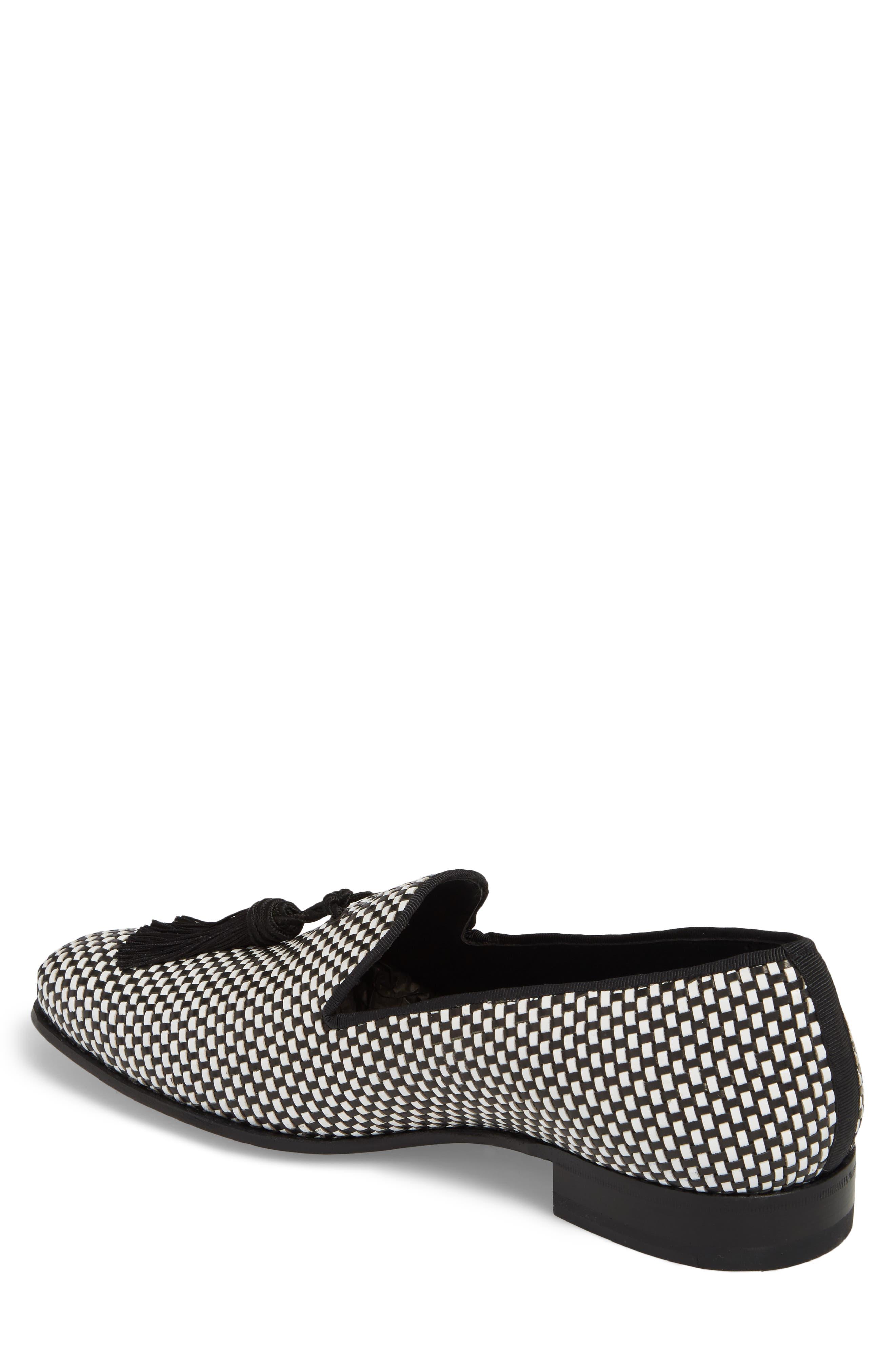 Egeo Tassel Loafer,                             Alternate thumbnail 2, color,                             Black/ White Leather