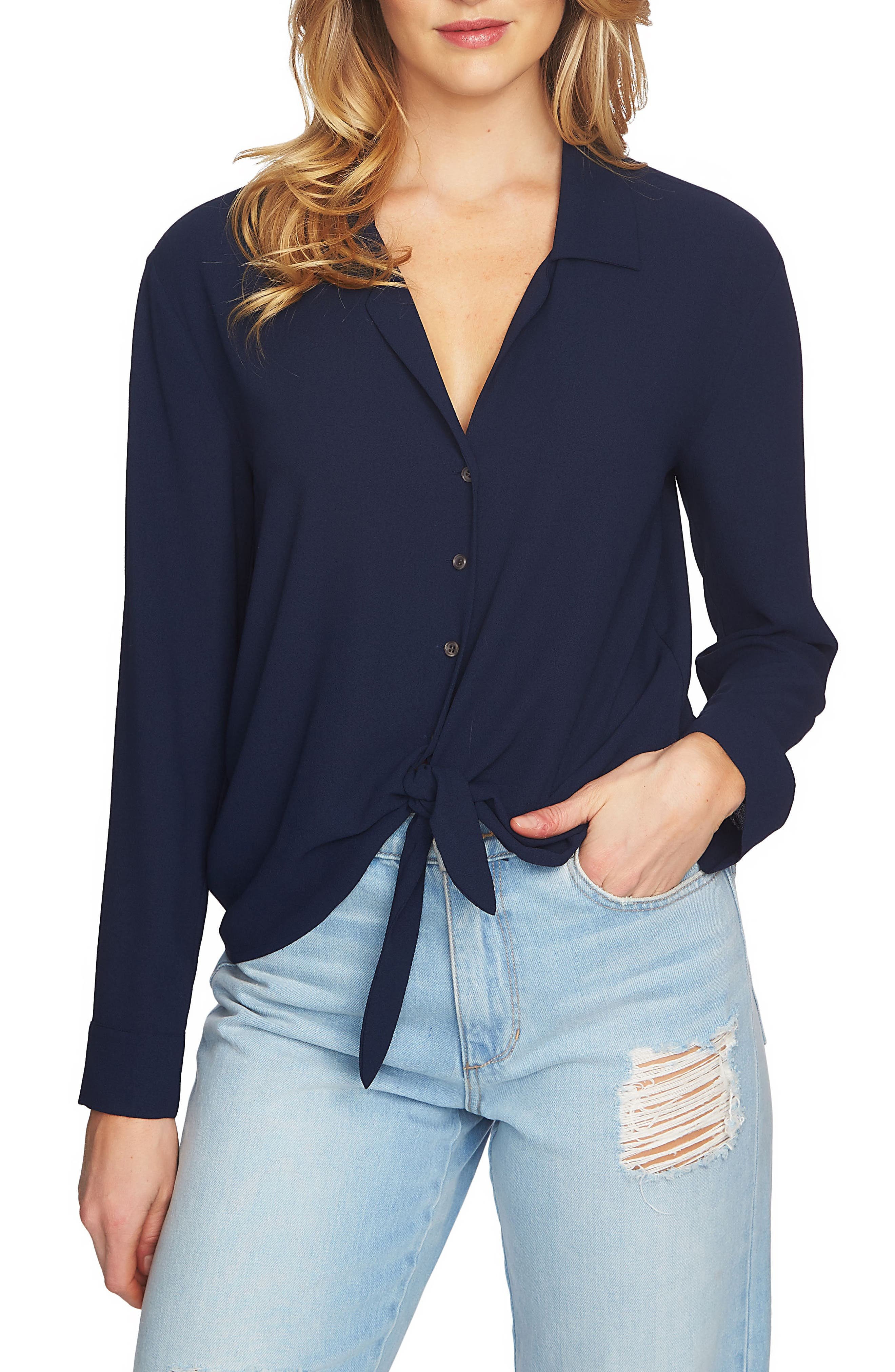 Tie Front Blouse,                         Main,                         color, 553-Navy Yard