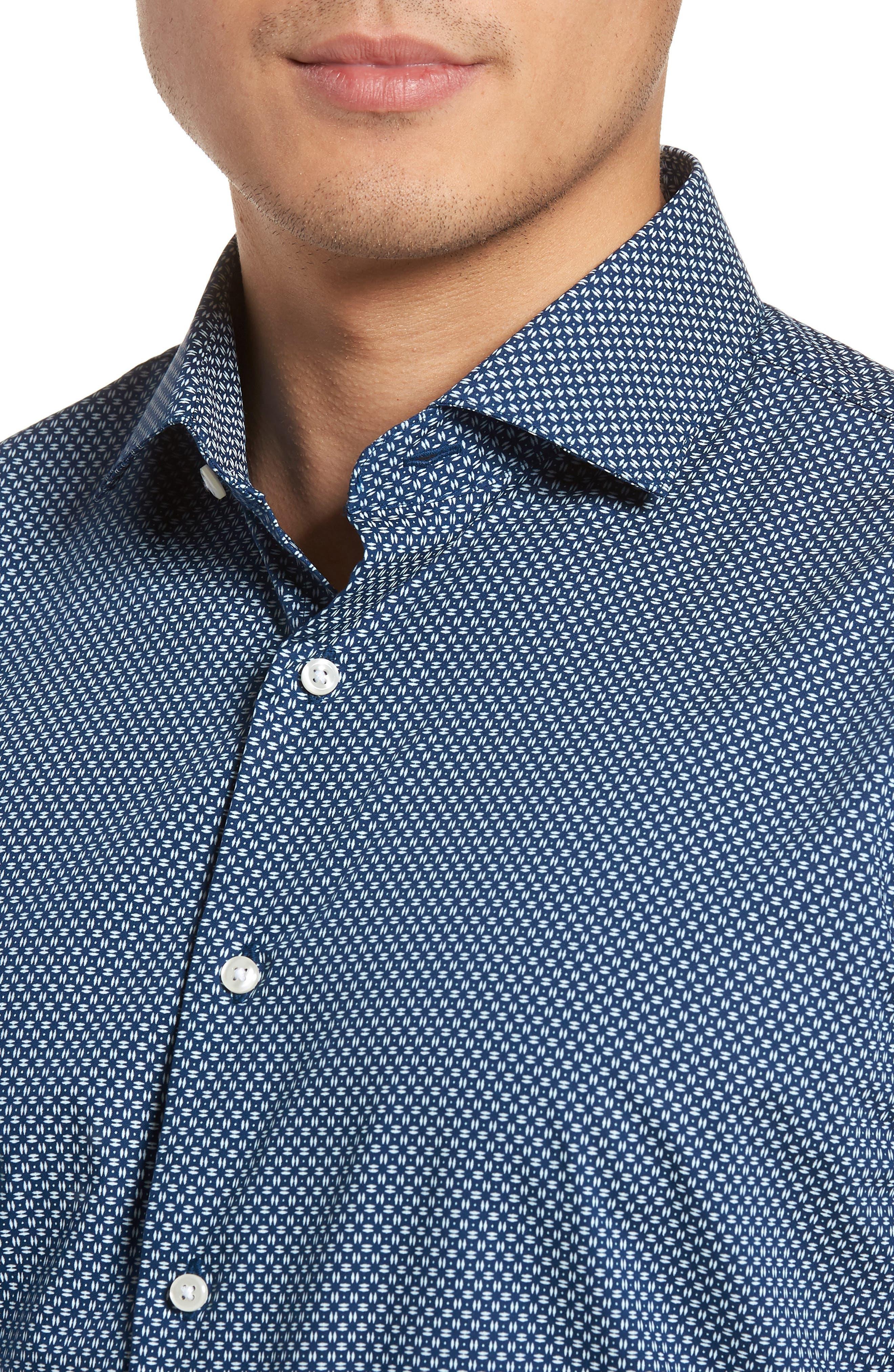 Trim Fit Dress Shirt,                             Alternate thumbnail 2, color,                             Navy Night