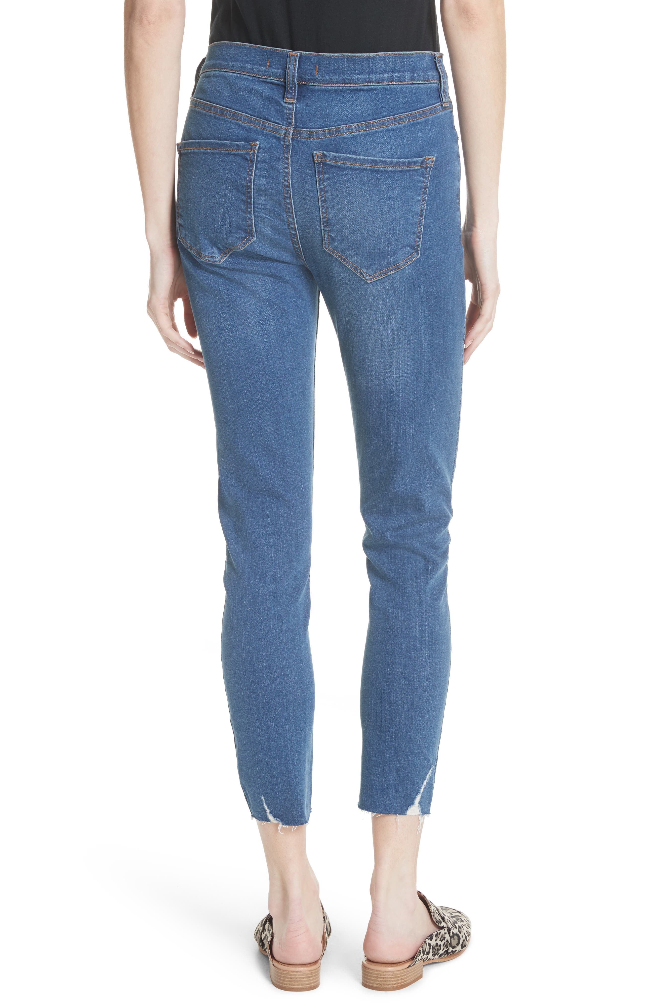 Ripped Crop Skinny Jeans,                             Alternate thumbnail 2, color,                             Blue