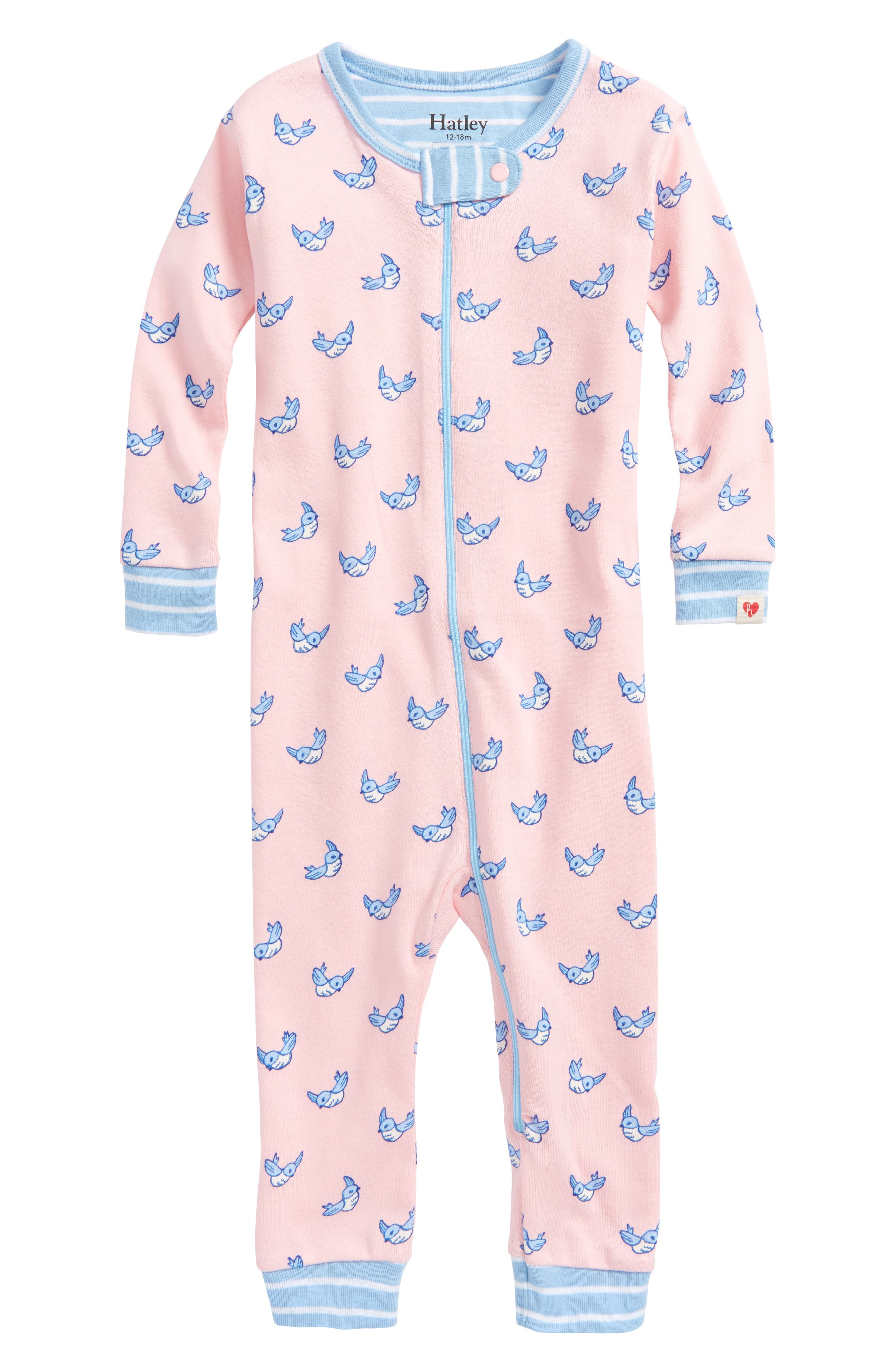 Fluttering Birds Organic Cotton Fitted One-Piece Pajamas,                         Main,                         color, Fluttering Birds