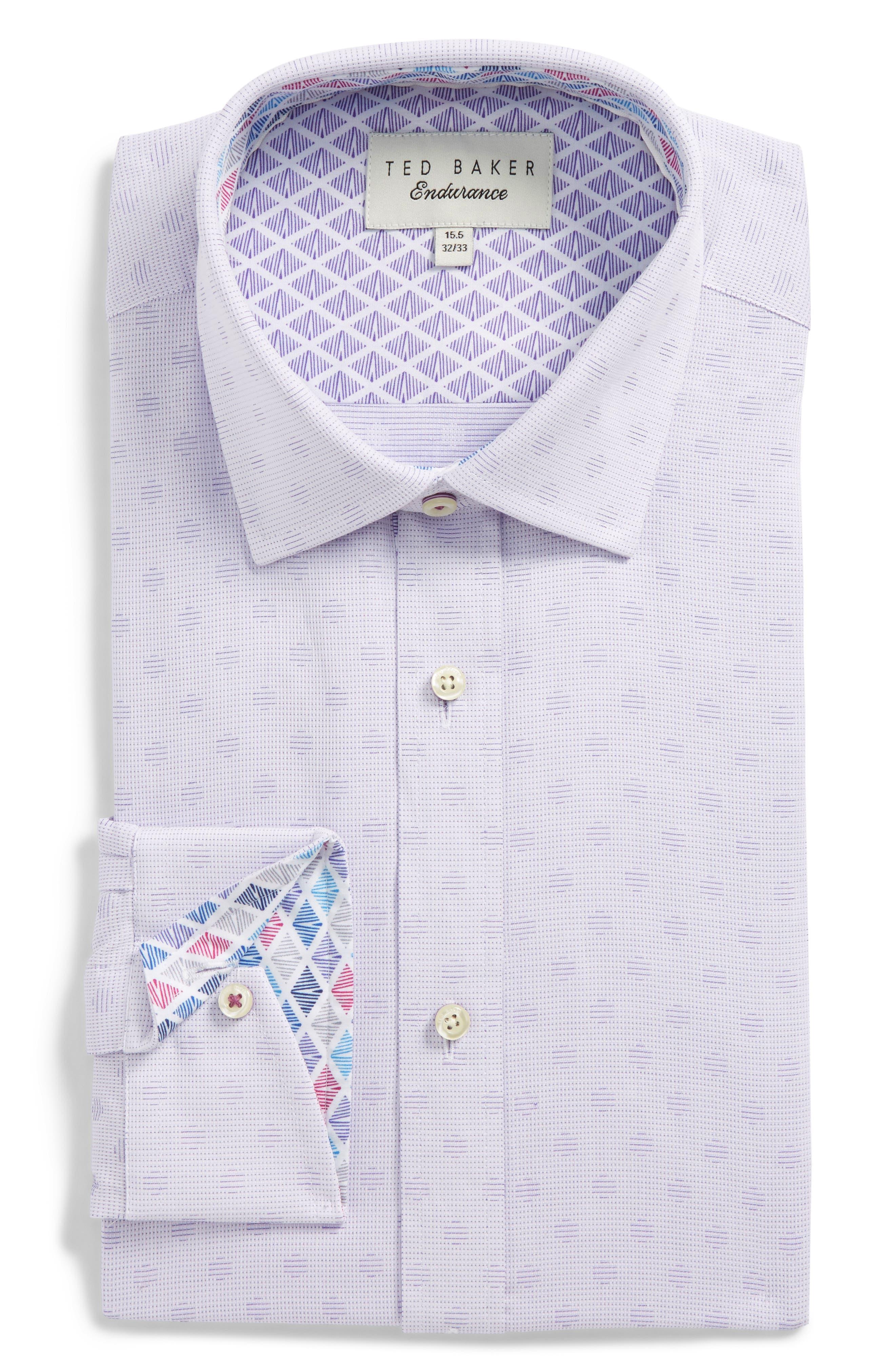 Racking Trim Fit Dot Dress Shirt,                             Alternate thumbnail 6, color,                             Purple