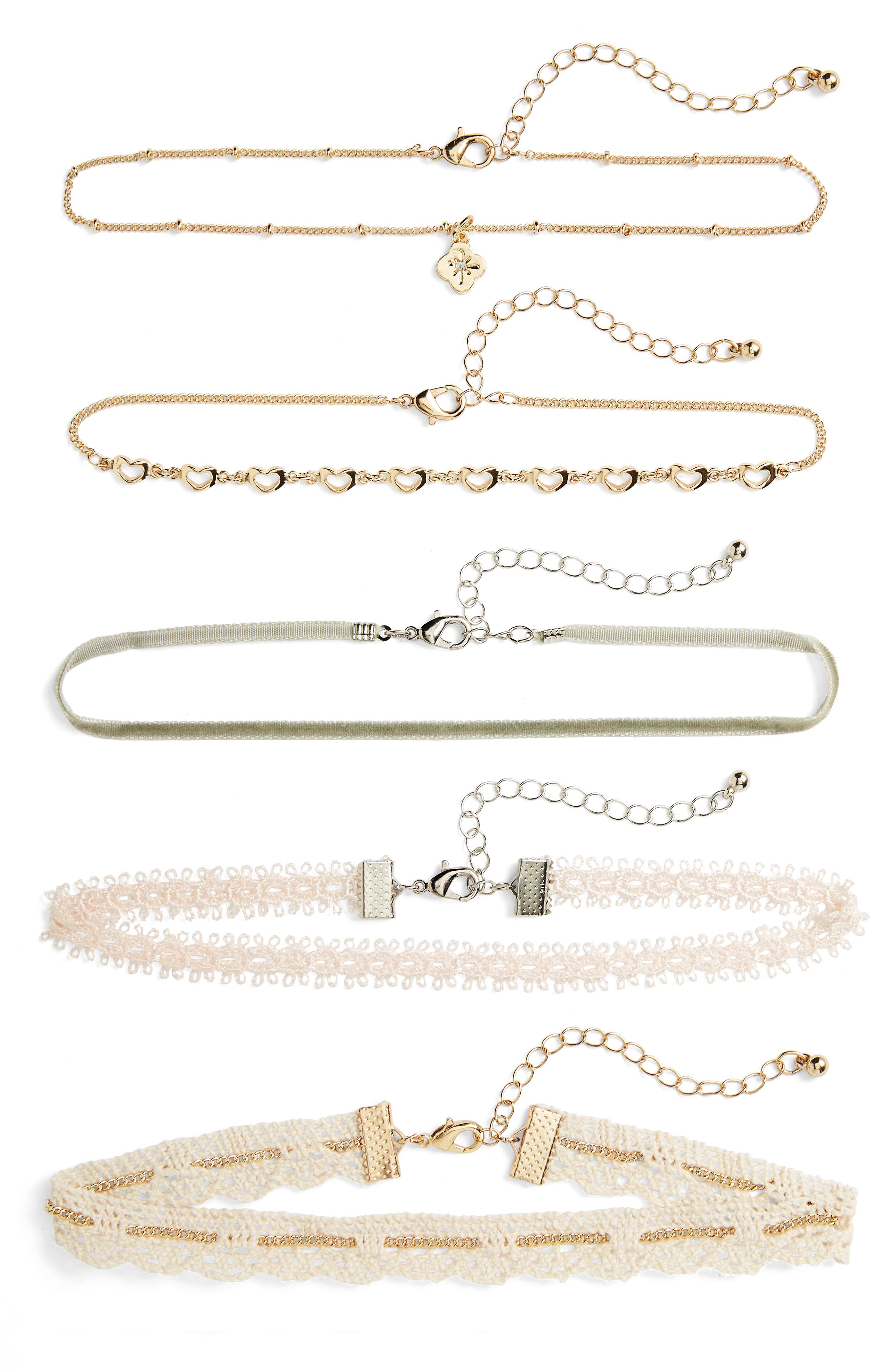 Set of 5 Chokers,                         Main,                         color, Gold Combo