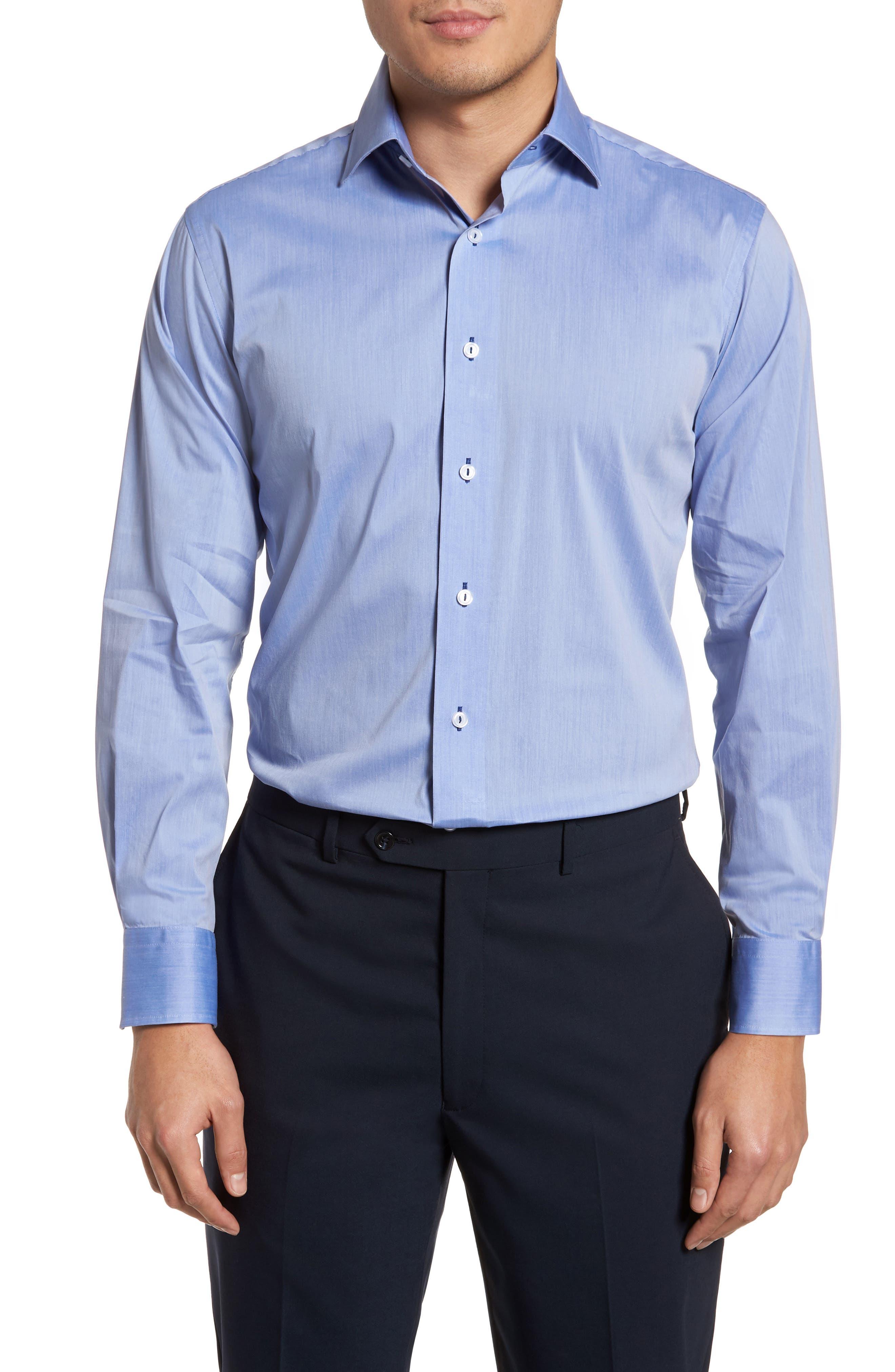 Trim Fit Dress Shirt,                             Main thumbnail 1, color,                             Blue