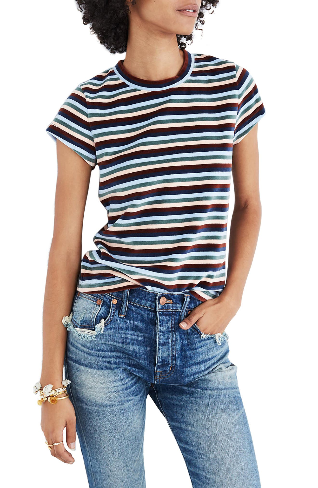 Stripe Velour Tee,                         Main,                         color, Maple Syrup