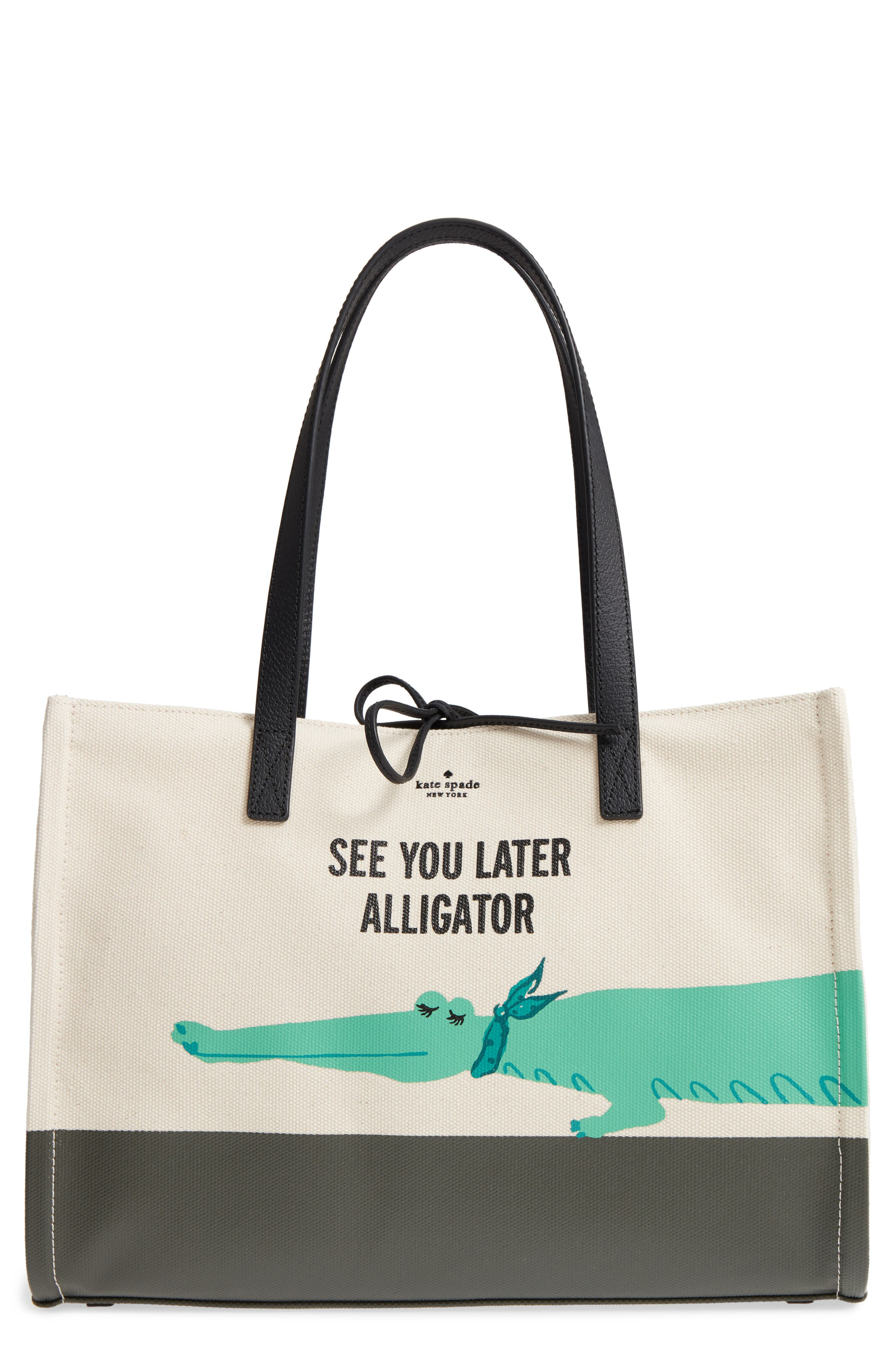 kate spade new york swamped alligator mega sam canvas tote