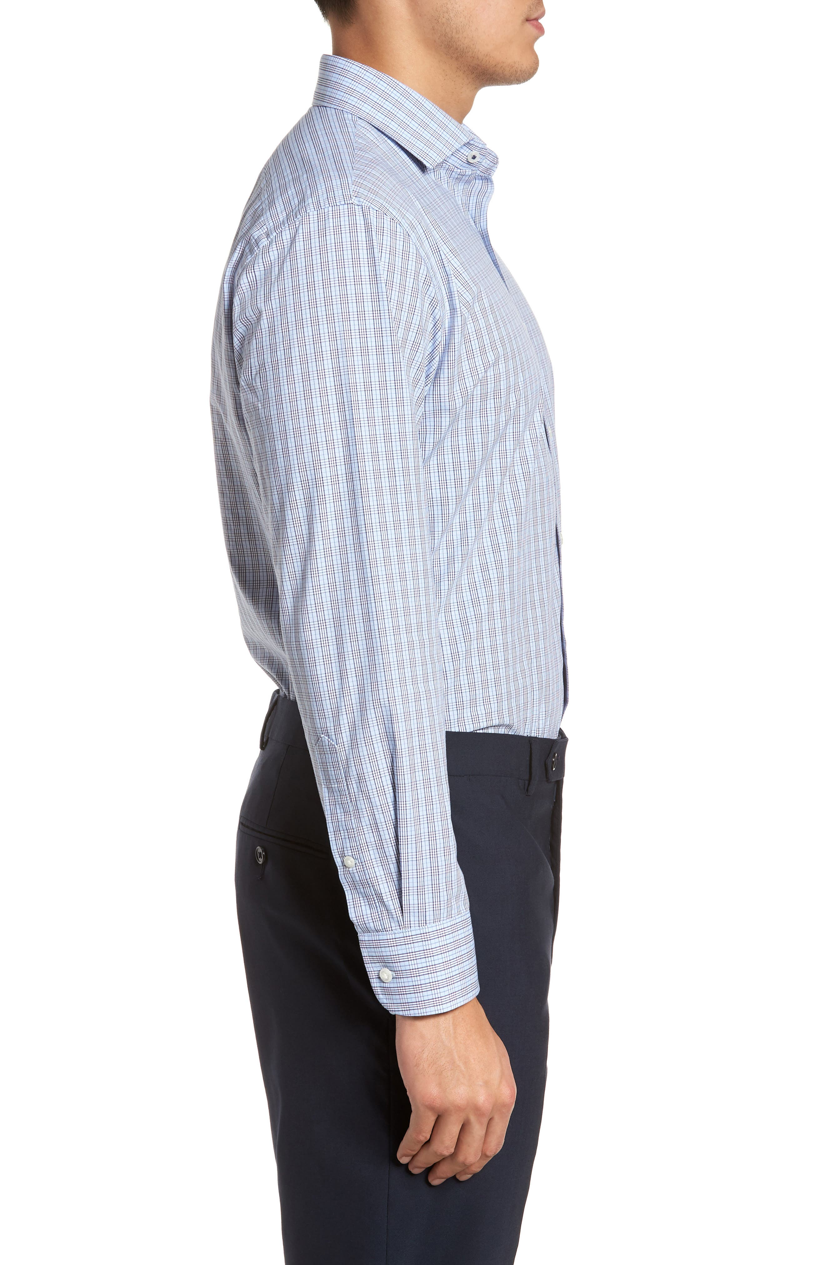 Alternate Image 3  - Nordstrom Men's Shop Tech-Smart Trim Fit Grid Dress Shirt