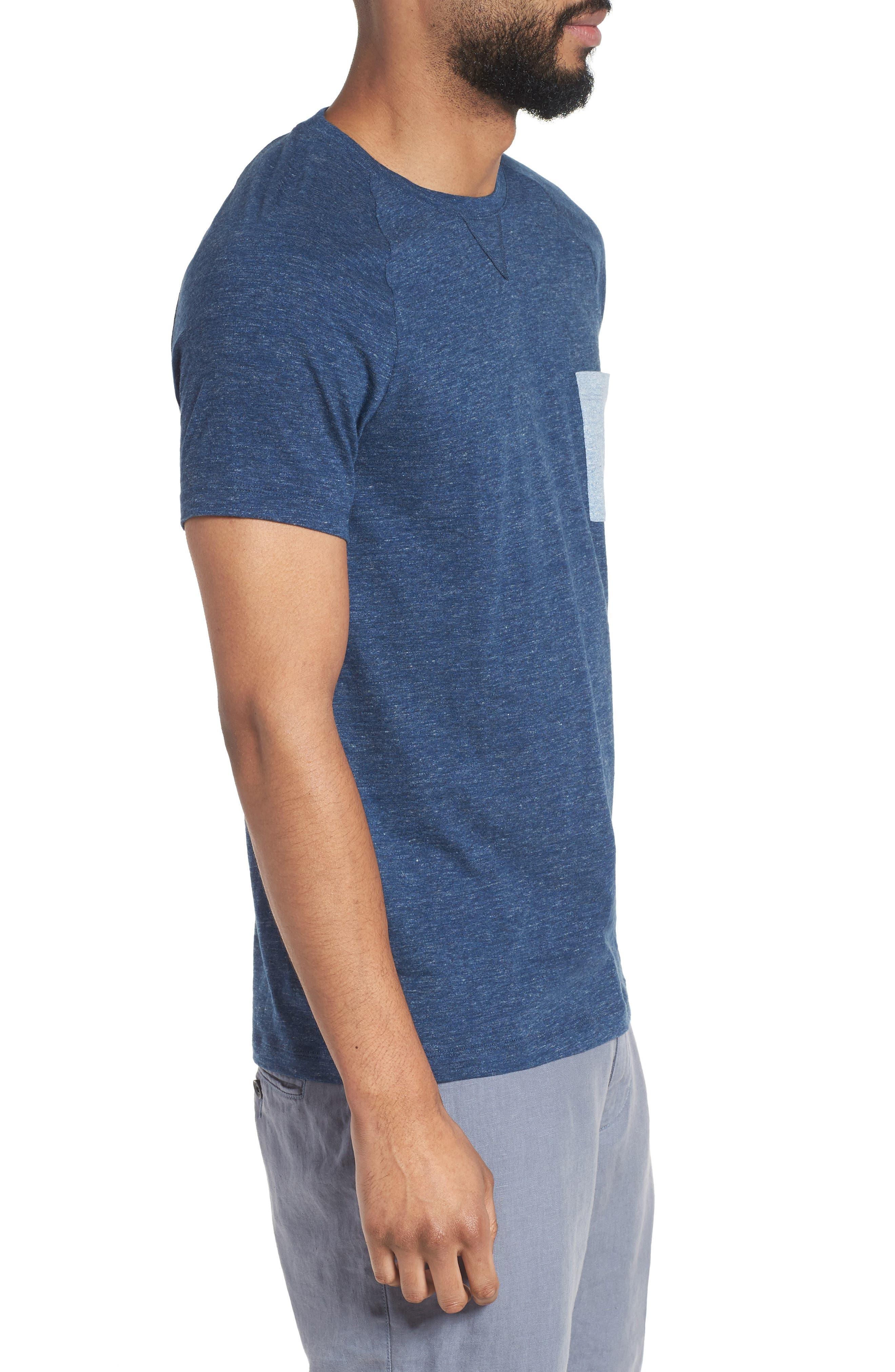 Tessler Slim Fit Pocket T-Shirt,                             Alternate thumbnail 3, color,                             Blue