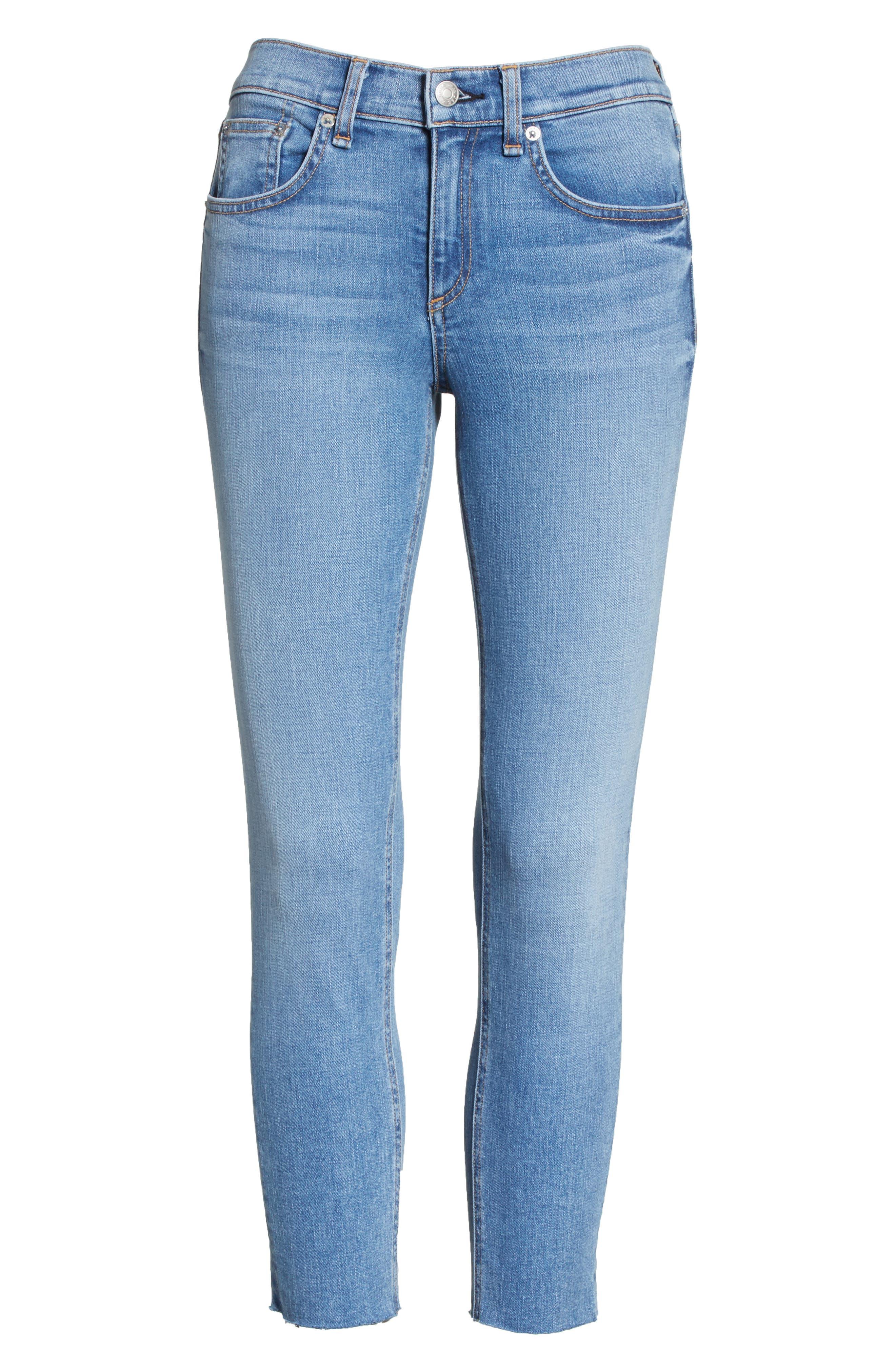 Raw Hem Capri Skinny Jeans,                             Alternate thumbnail 6, color,                             Levee