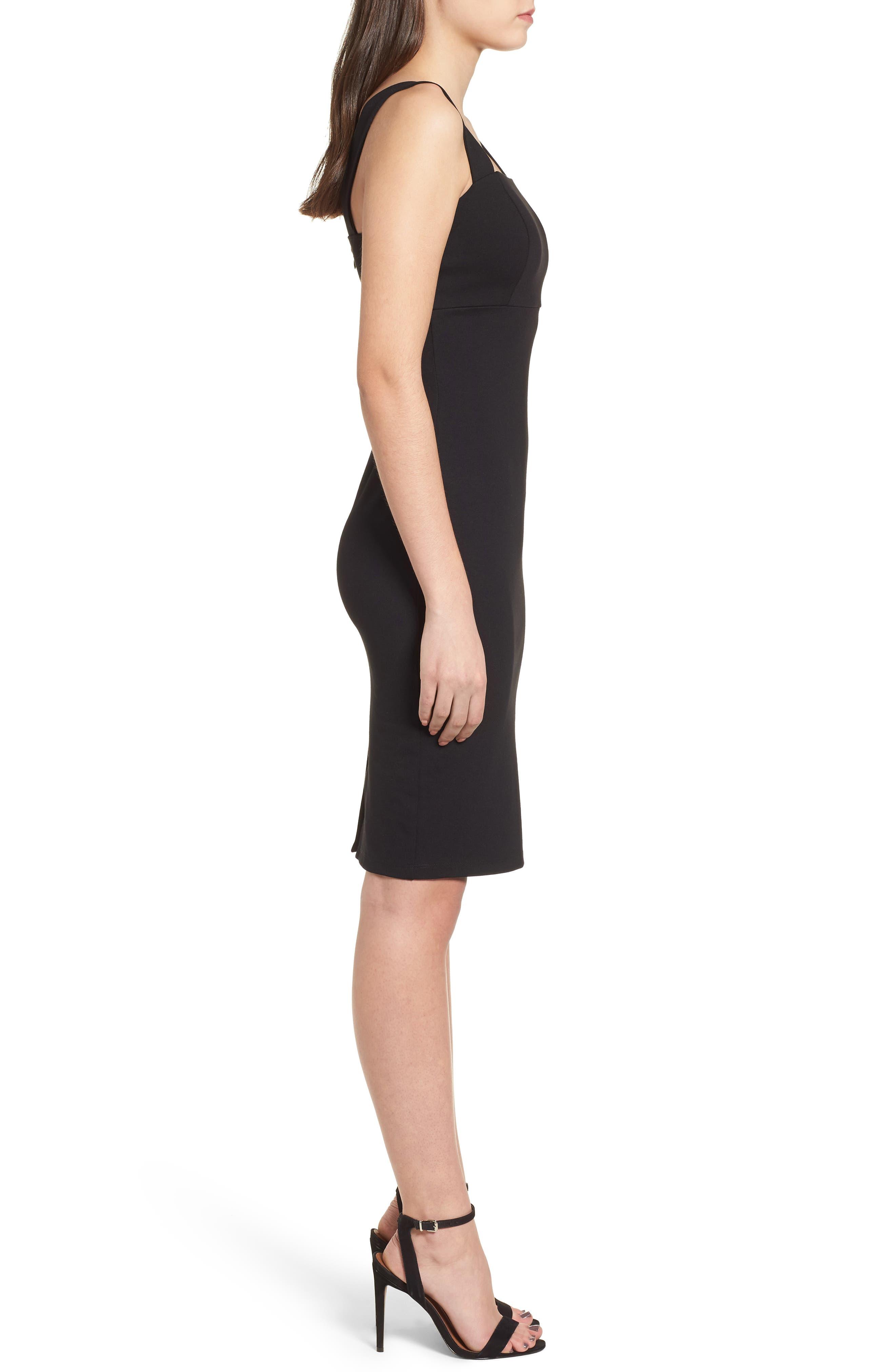 Body-Con Dress,                             Alternate thumbnail 3, color,                             Black