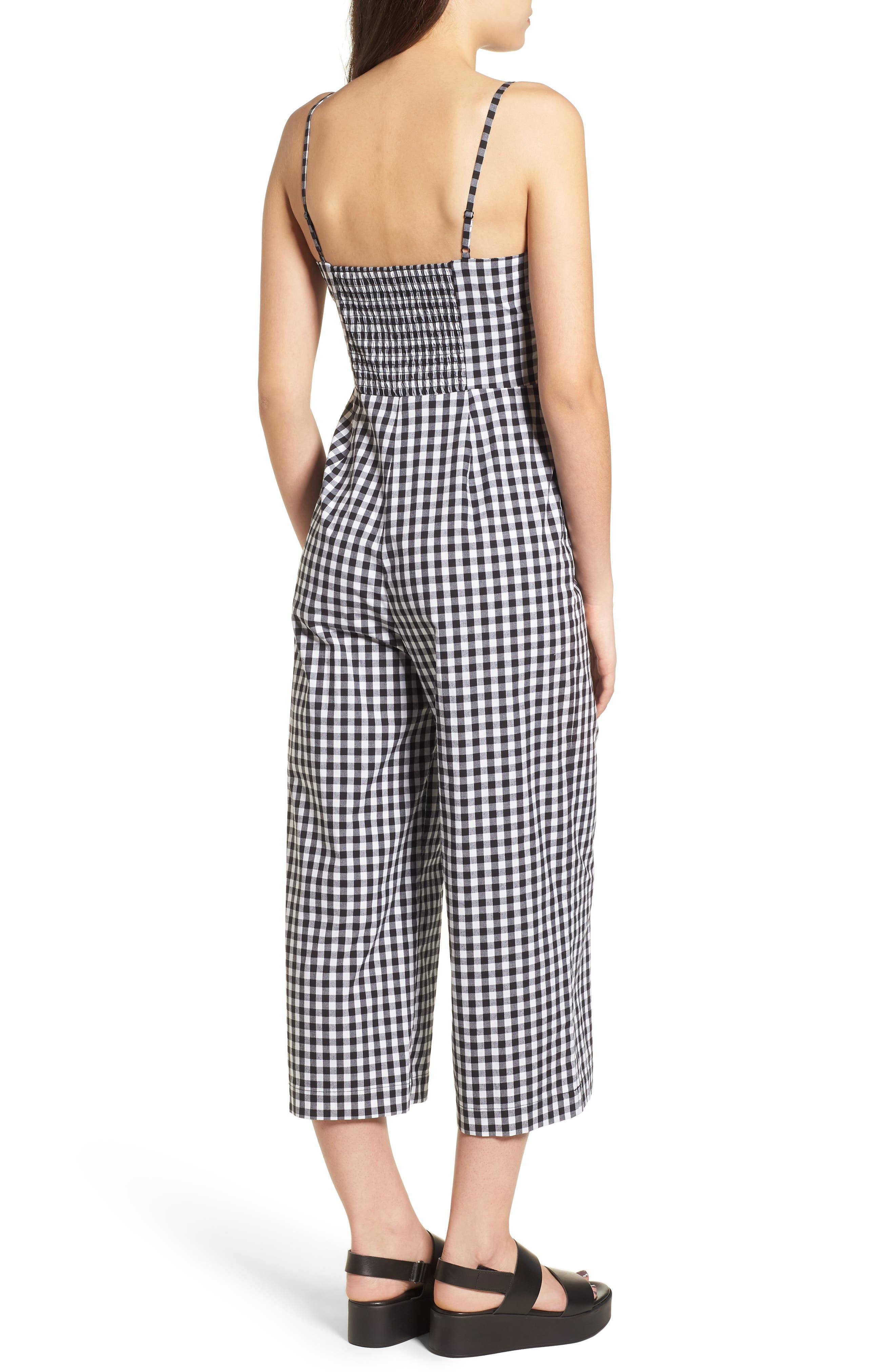 Tie Front Cropped Jumpsuit,                             Alternate thumbnail 2, color,                             Black/ White Gingham