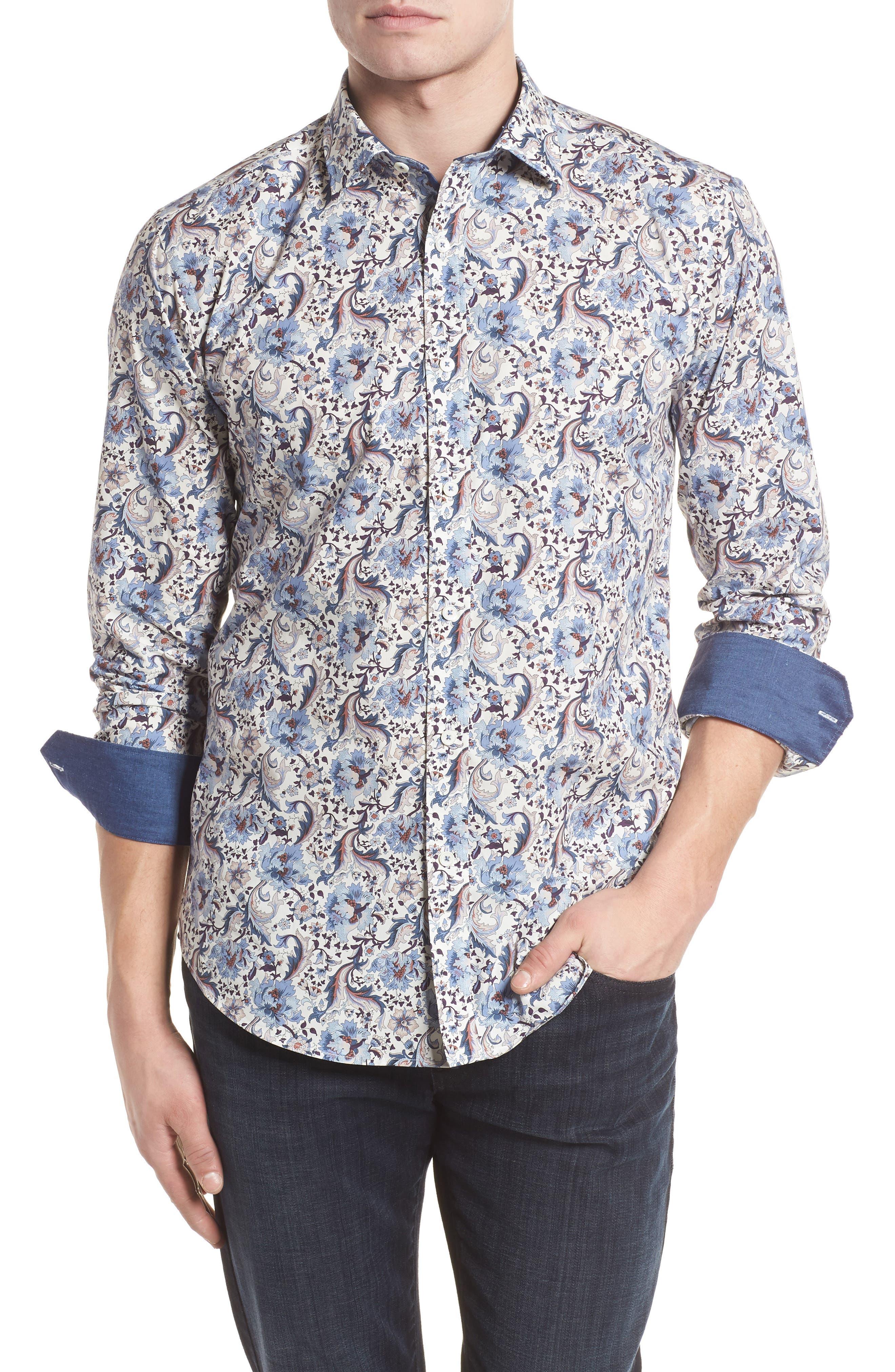 Shaped Fit Floral Sport Shirt,                         Main,                         color, Chalk