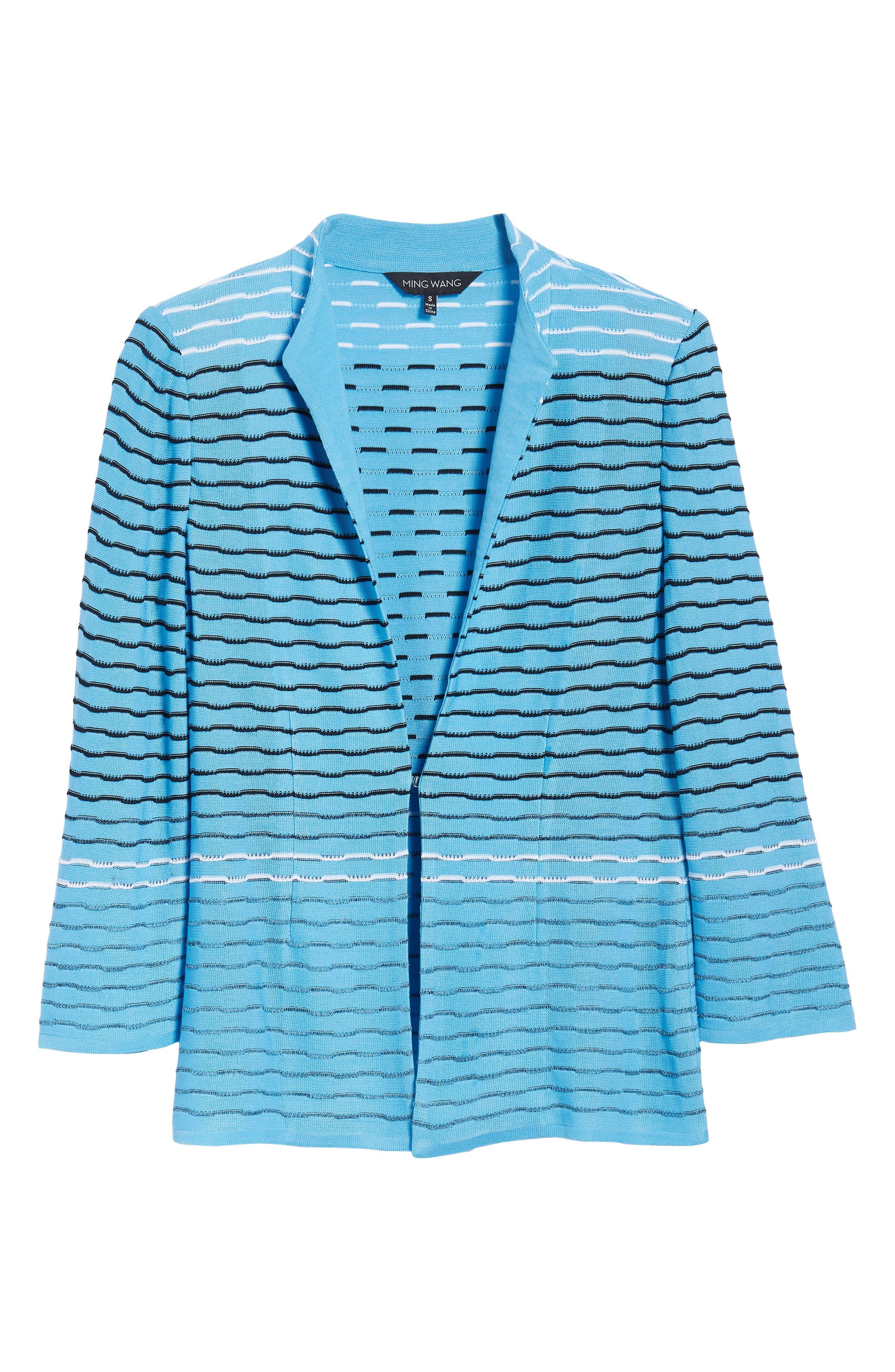 Jacquard Knit Jacket,                             Alternate thumbnail 6, color,                             Bluebonnet/ Black/ White