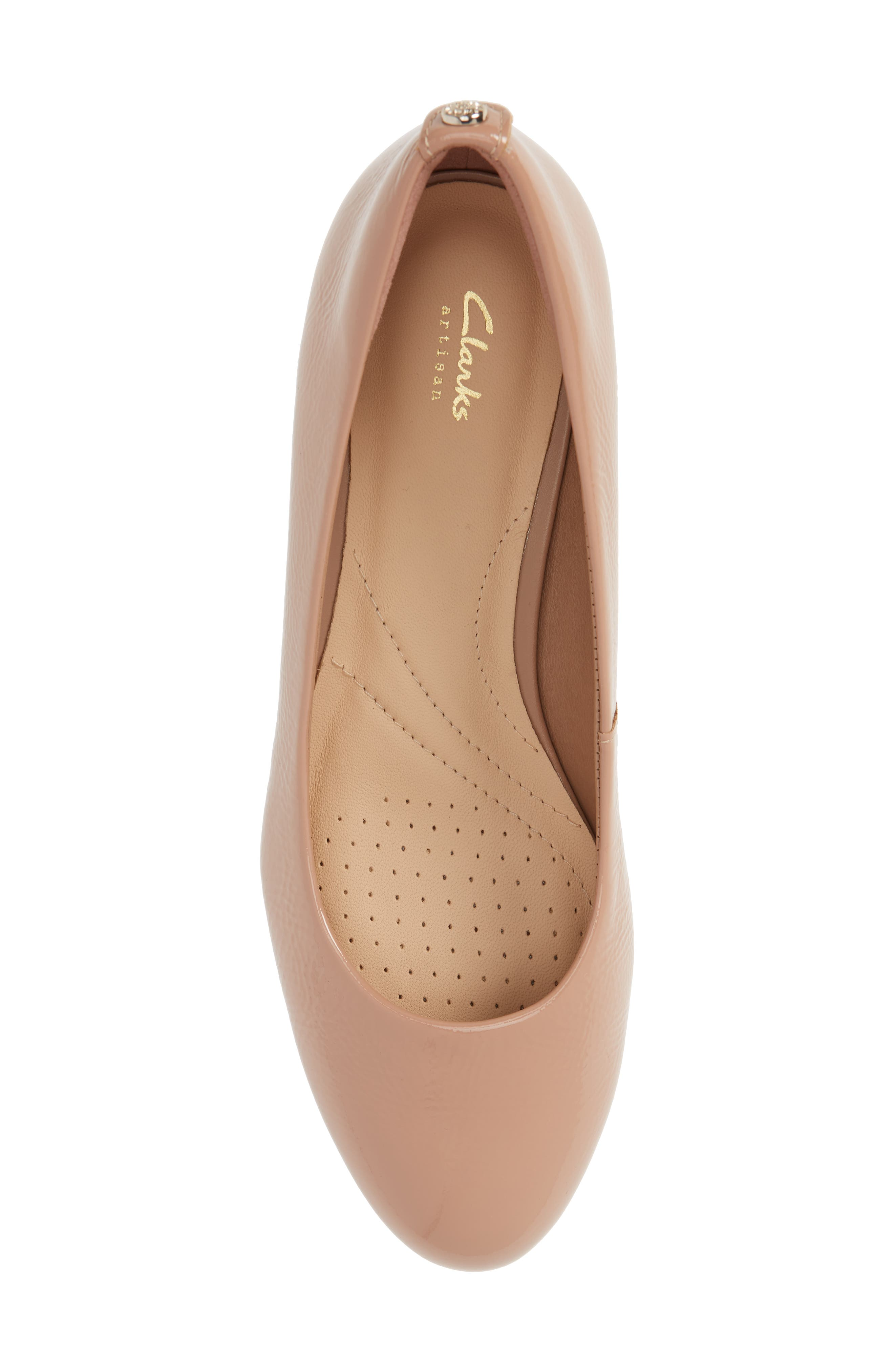 Vendra Bloom Wedge Pump,                             Alternate thumbnail 5, color,                             Beige Patent Leather