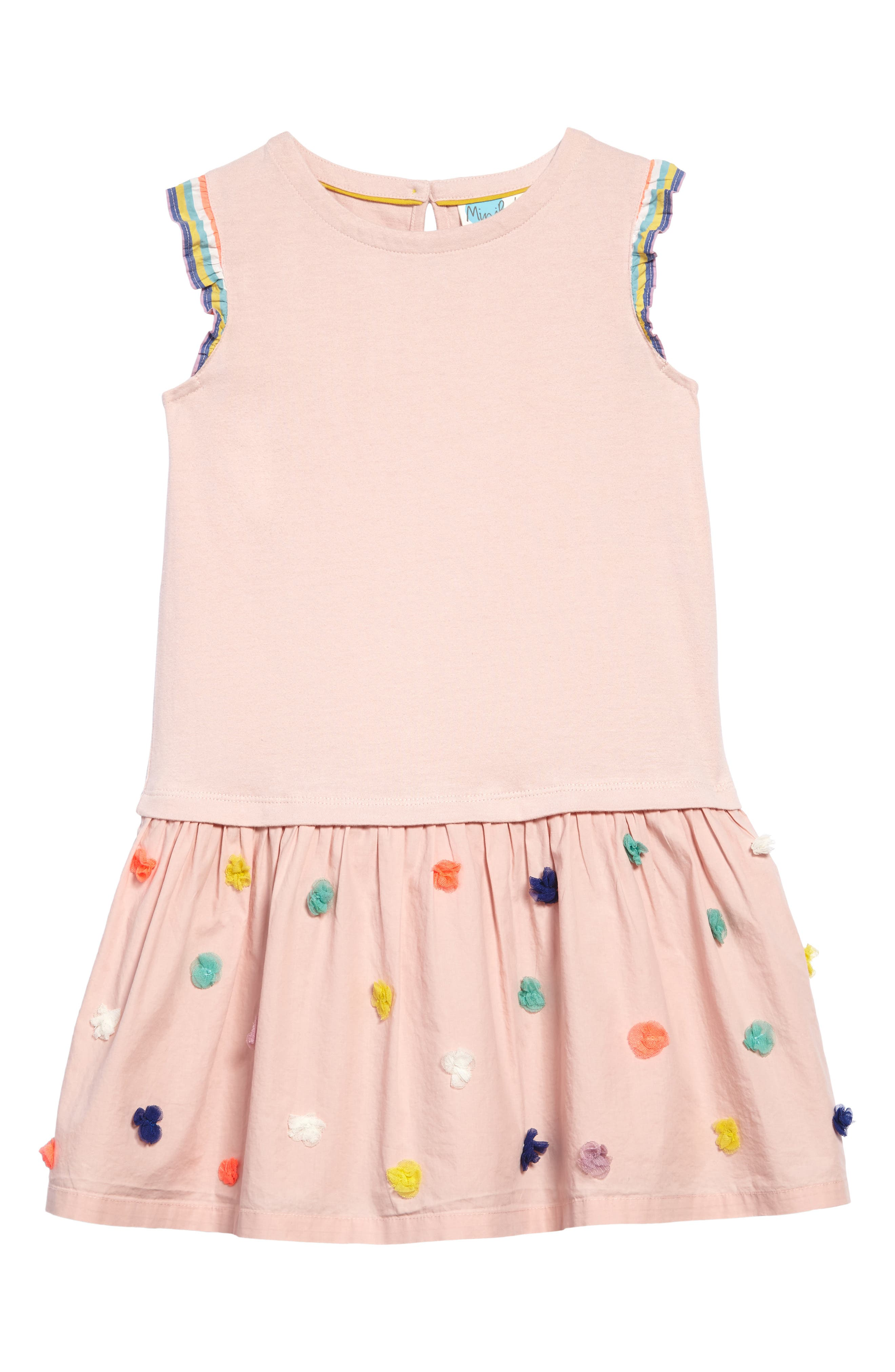 Alternate Image 1 Selected - Mini Boden Fun Knit-to-Woven Dress (Toddler Girls, Little Girls & Big Girls)