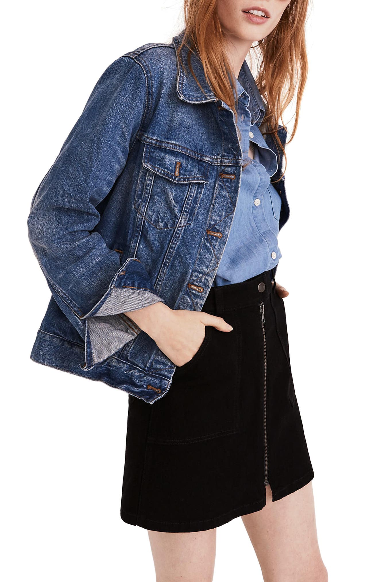 Zip Denim Utility Miniskirt,                         Main,                         color, Black Frost