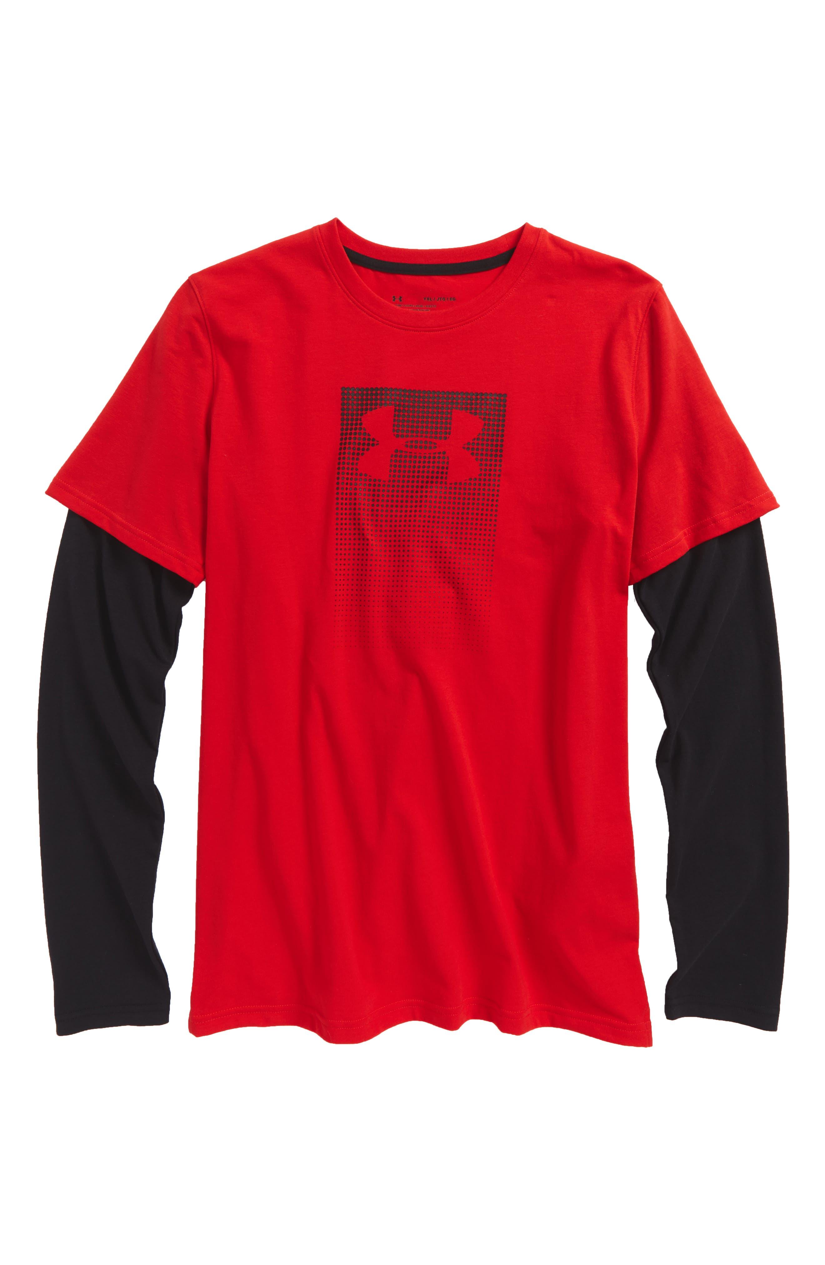 Long Sleeve HeatGear<sup>®</sup> T-Shirt,                         Main,                         color, Red/ Black