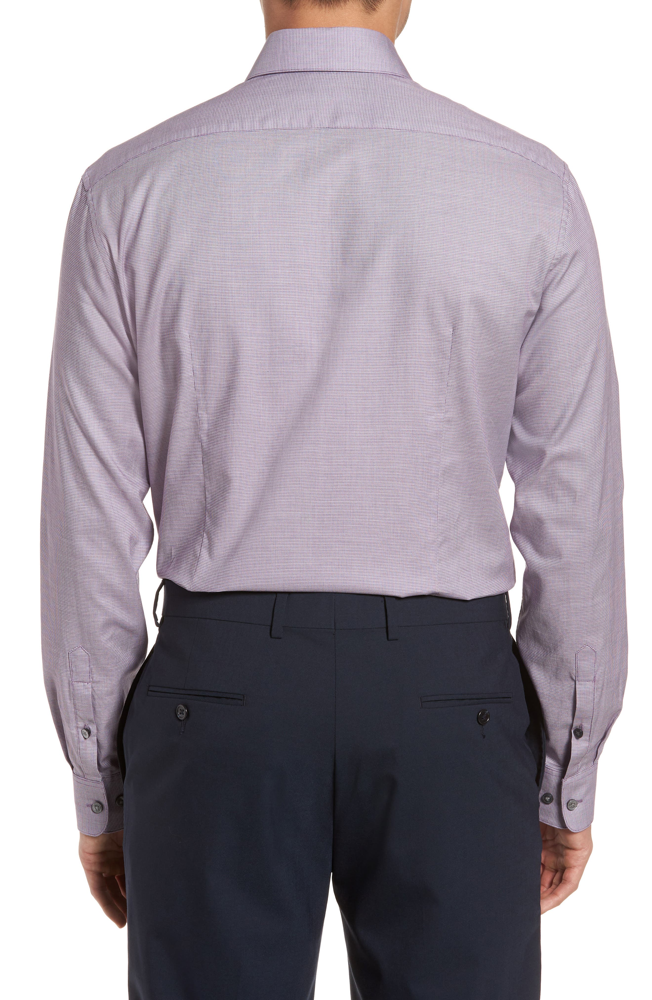Slim Fit Stretch Microdot Dress Shirt,                             Alternate thumbnail 3, color,                             Purple