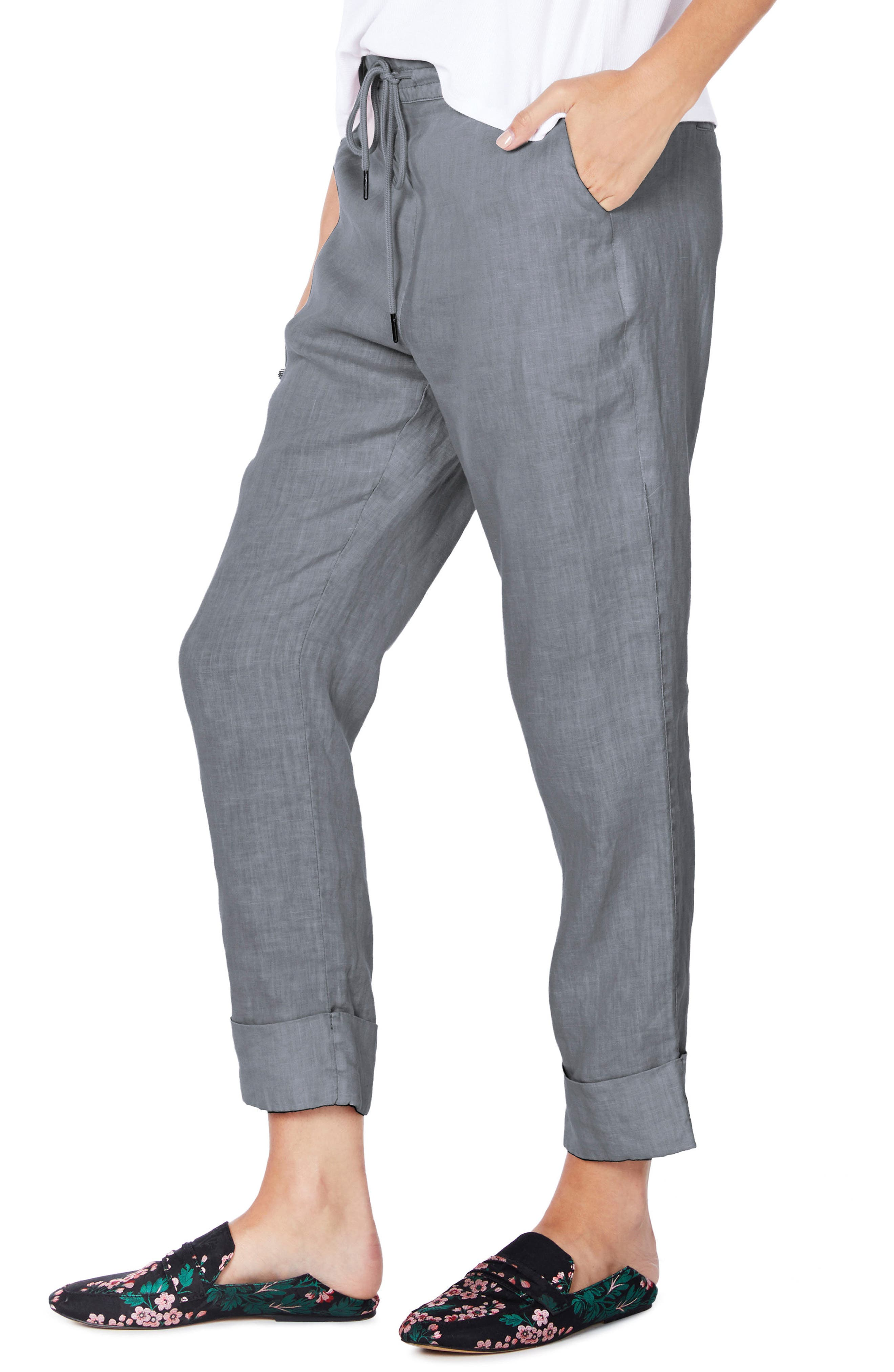 Cuffed Linen Pants,                             Alternate thumbnail 3, color,                             Galvanized