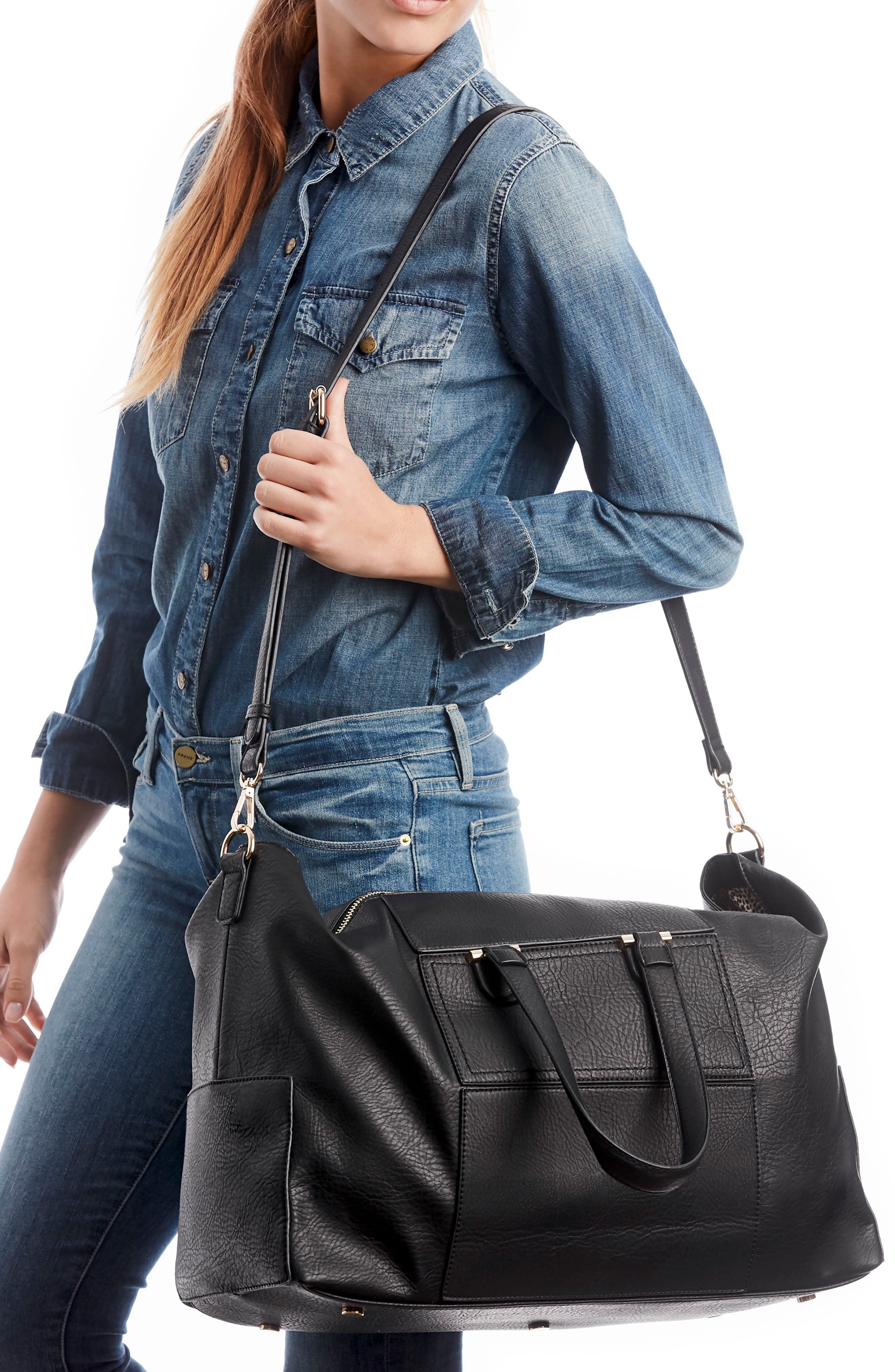 Cory Faux Leather Travel Tote,                             Alternate thumbnail 2, color,                             Black