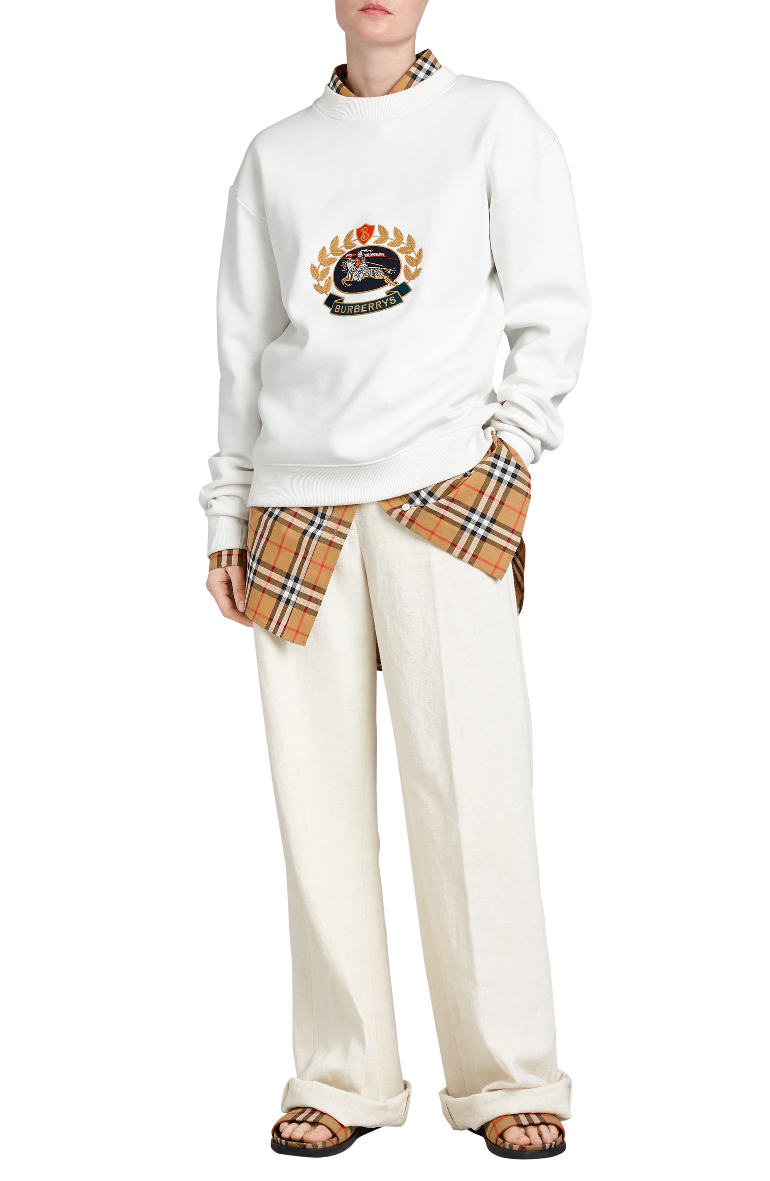 Vintage Crest Sweatshirt,                             Alternate thumbnail 6, color,                             Off White