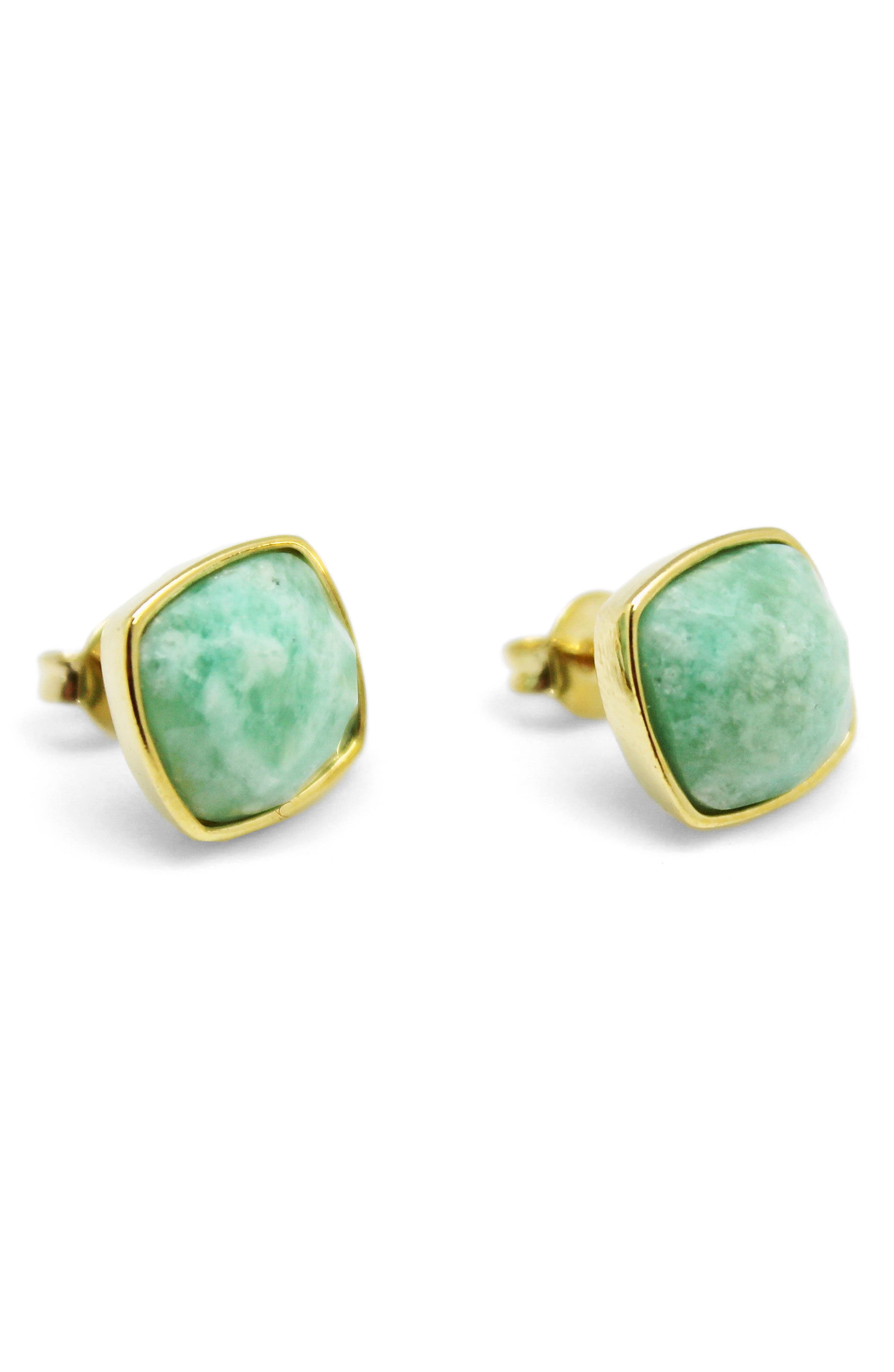 Square Amazonite Stud Earrings,                         Main,                         color, Aqua