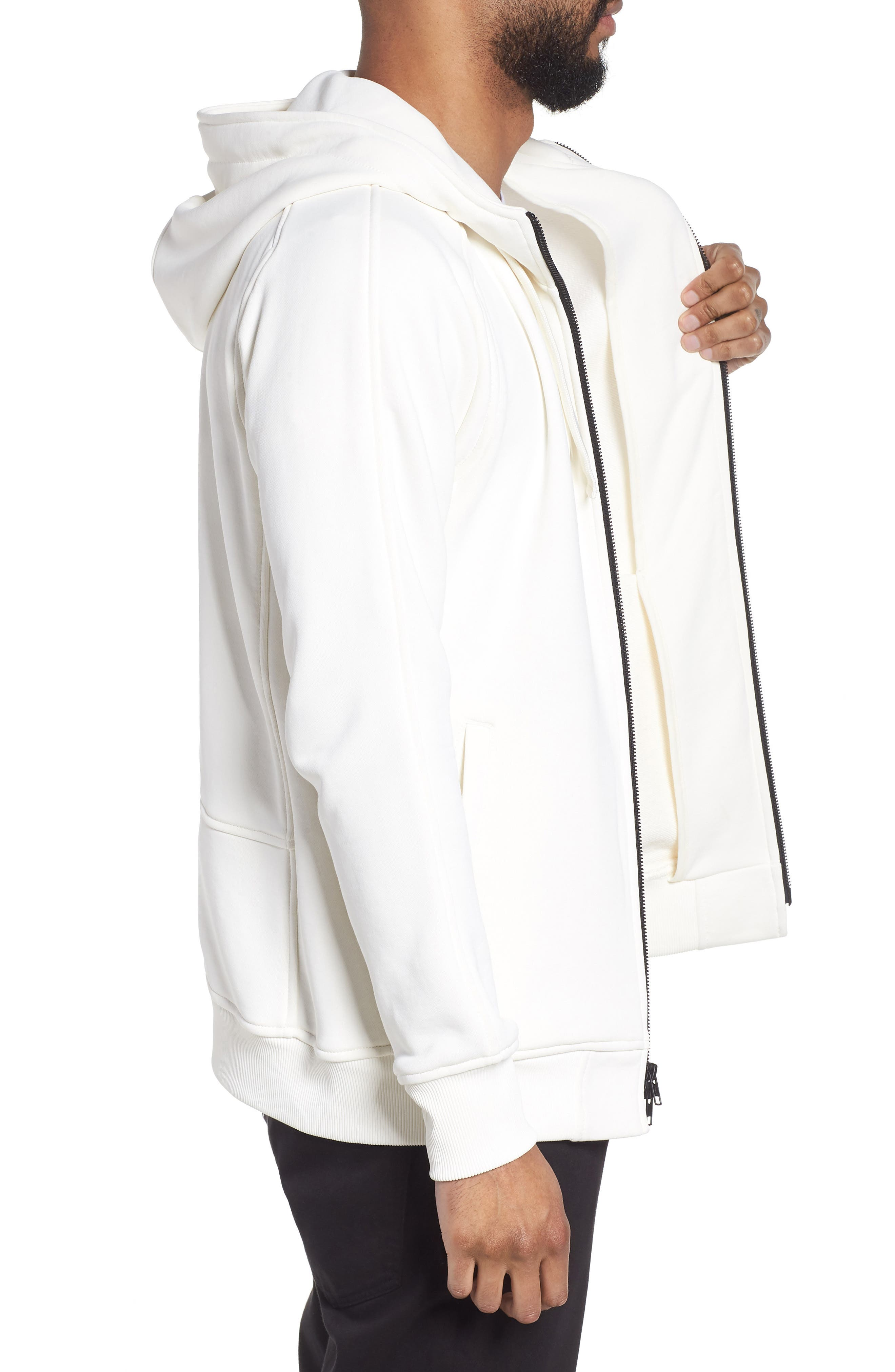The Lux Full Zip Hoodie,                             Alternate thumbnail 3, color,                             Creme
