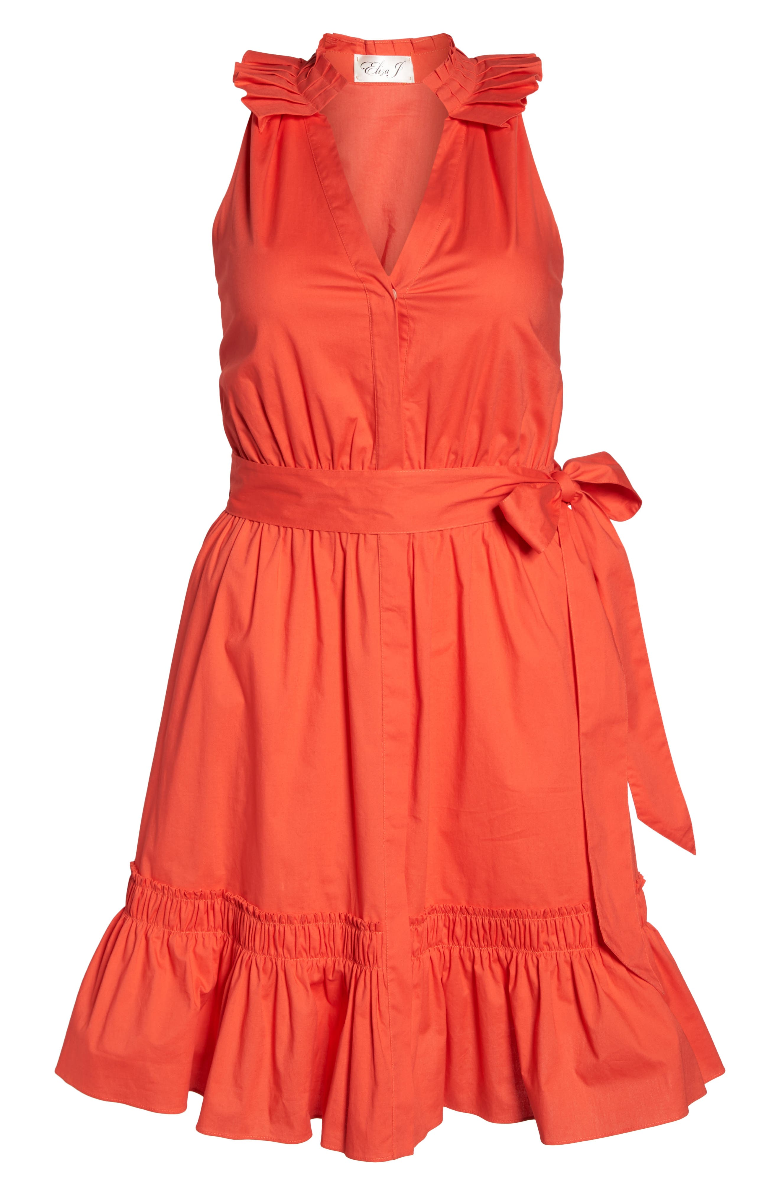 Pleat Collar Fit & Flare Dress,                             Alternate thumbnail 7, color,                             Red Bloom