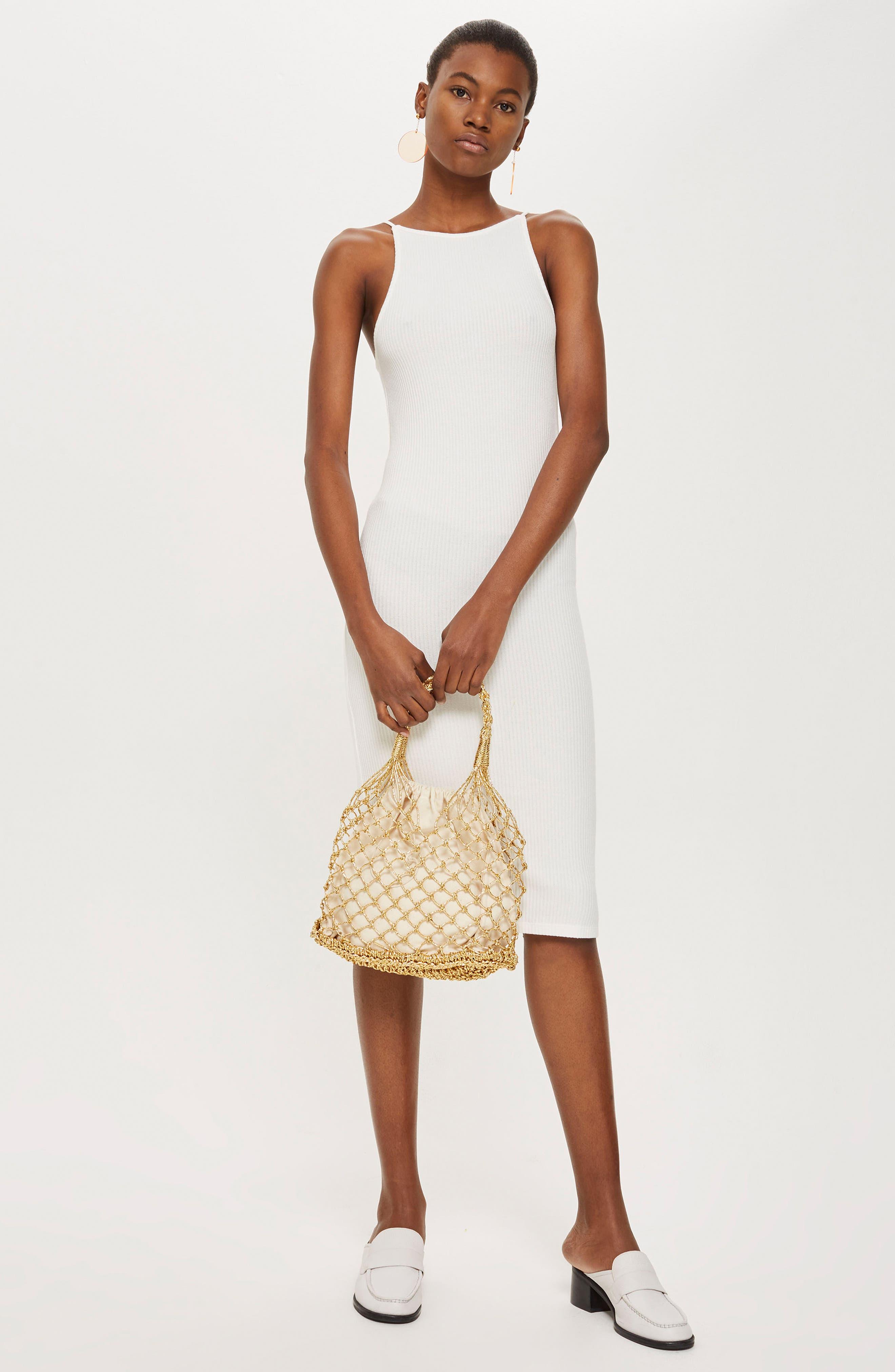 Scoop Back Ribbed Midi Dress,                             Alternate thumbnail 2, color,                             White