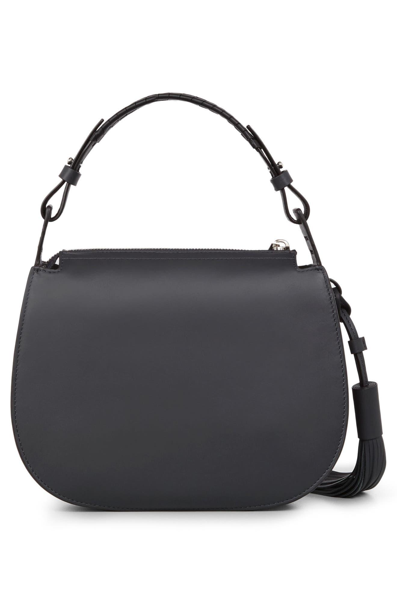Kepi Leather Crossbody Bag,                             Alternate thumbnail 3, color,                             Navy Black