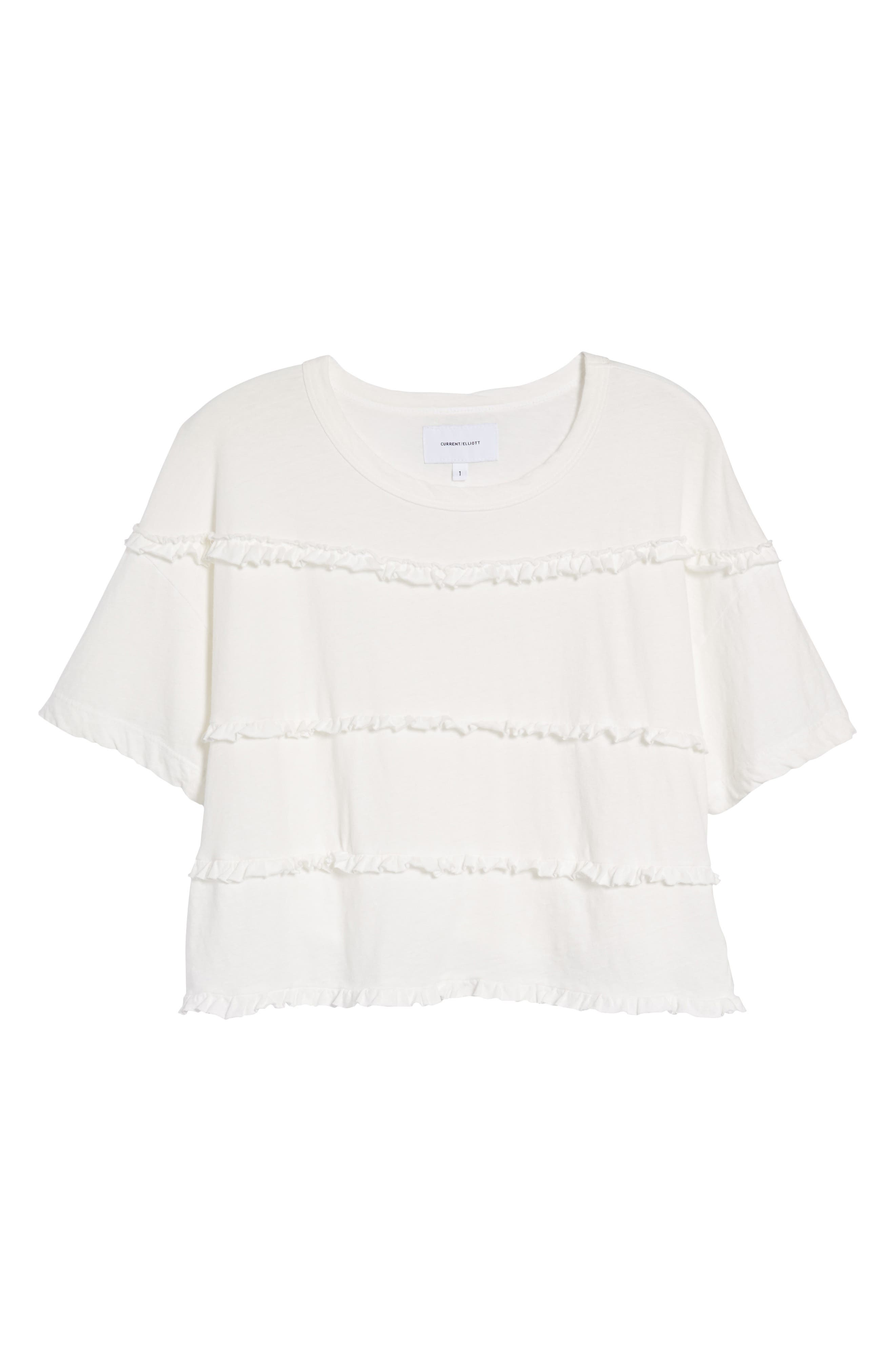 The Claudia Ruffle Tee,                             Alternate thumbnail 7, color,                             Star White
