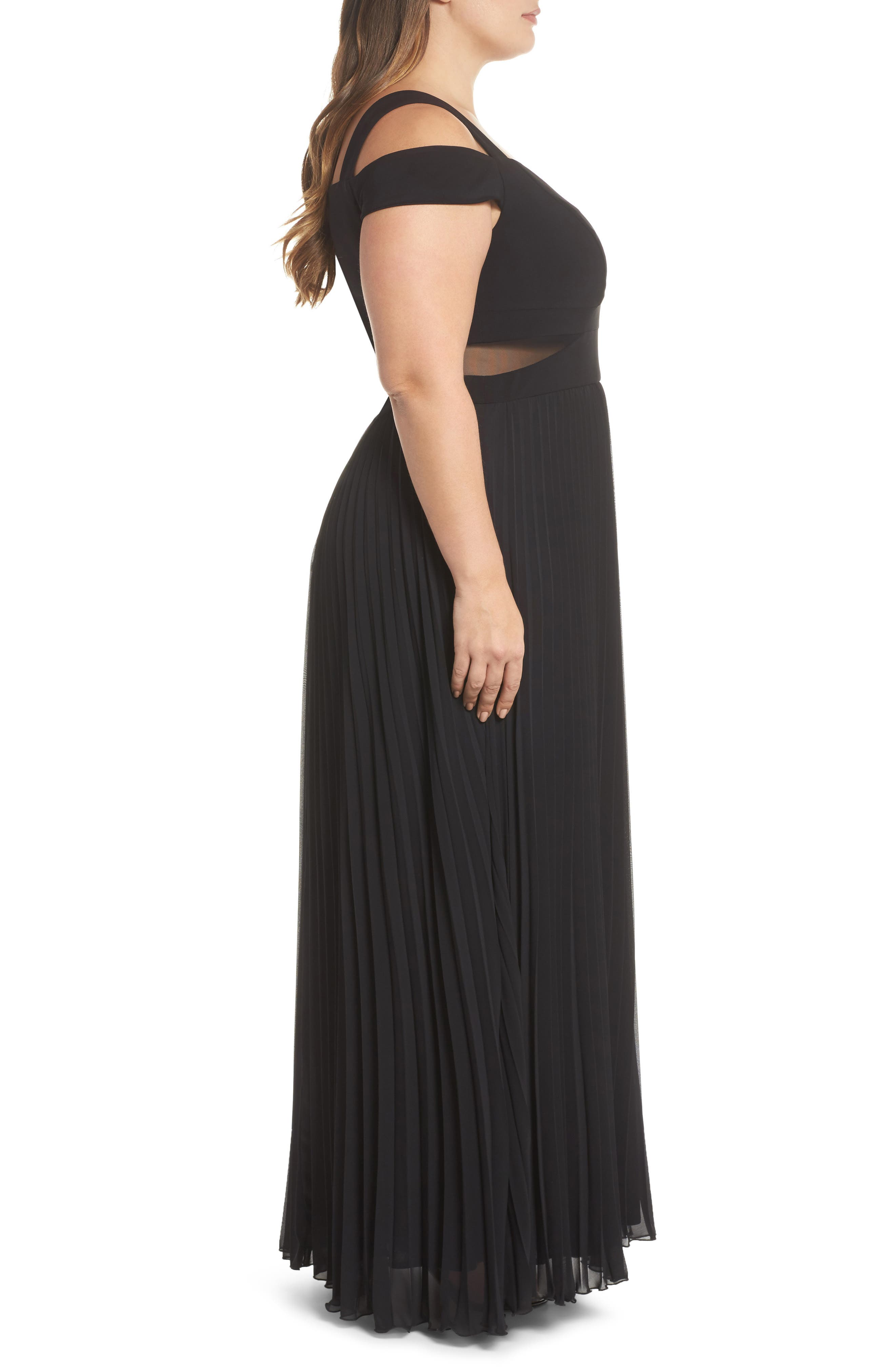 Pleated Cold Shoulder Gown,                             Alternate thumbnail 3, color,                             Black