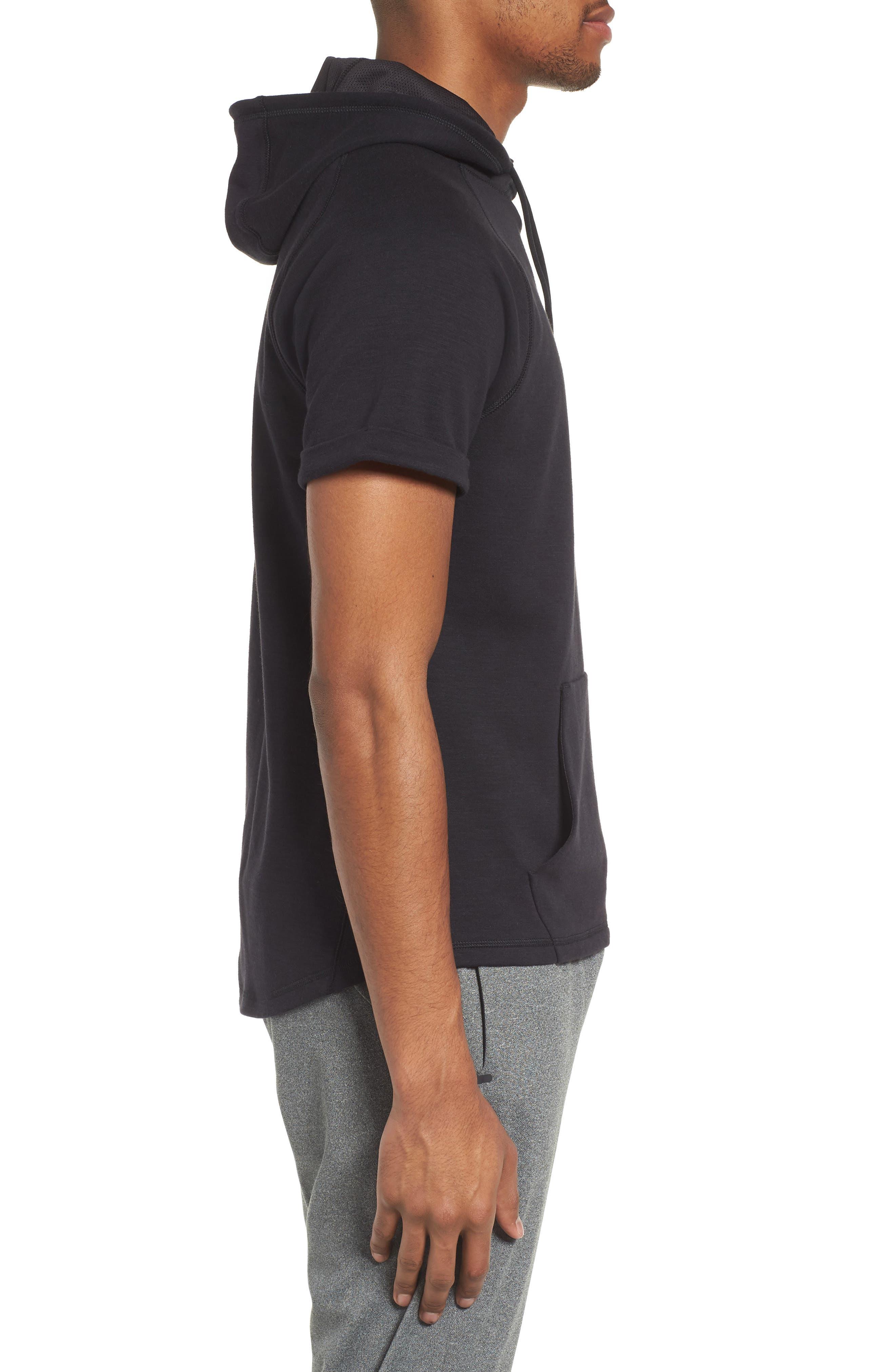 Magnetite Short Sleeve Cotton Blend Hoodie,                             Alternate thumbnail 3, color,                             Black Oxide Melange