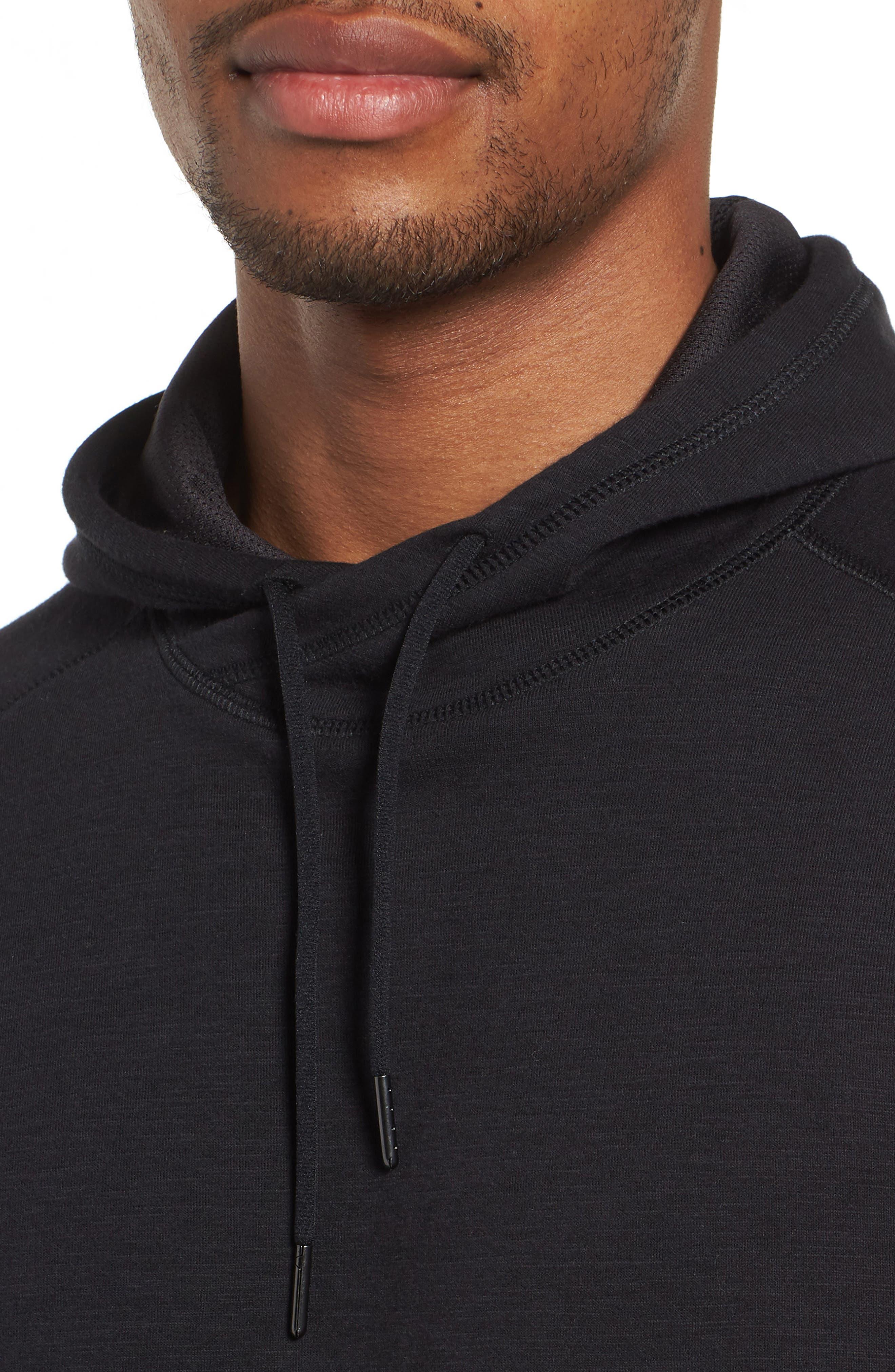 Magnetite Short Sleeve Cotton Blend Hoodie,                             Alternate thumbnail 4, color,                             Black Oxide Melange