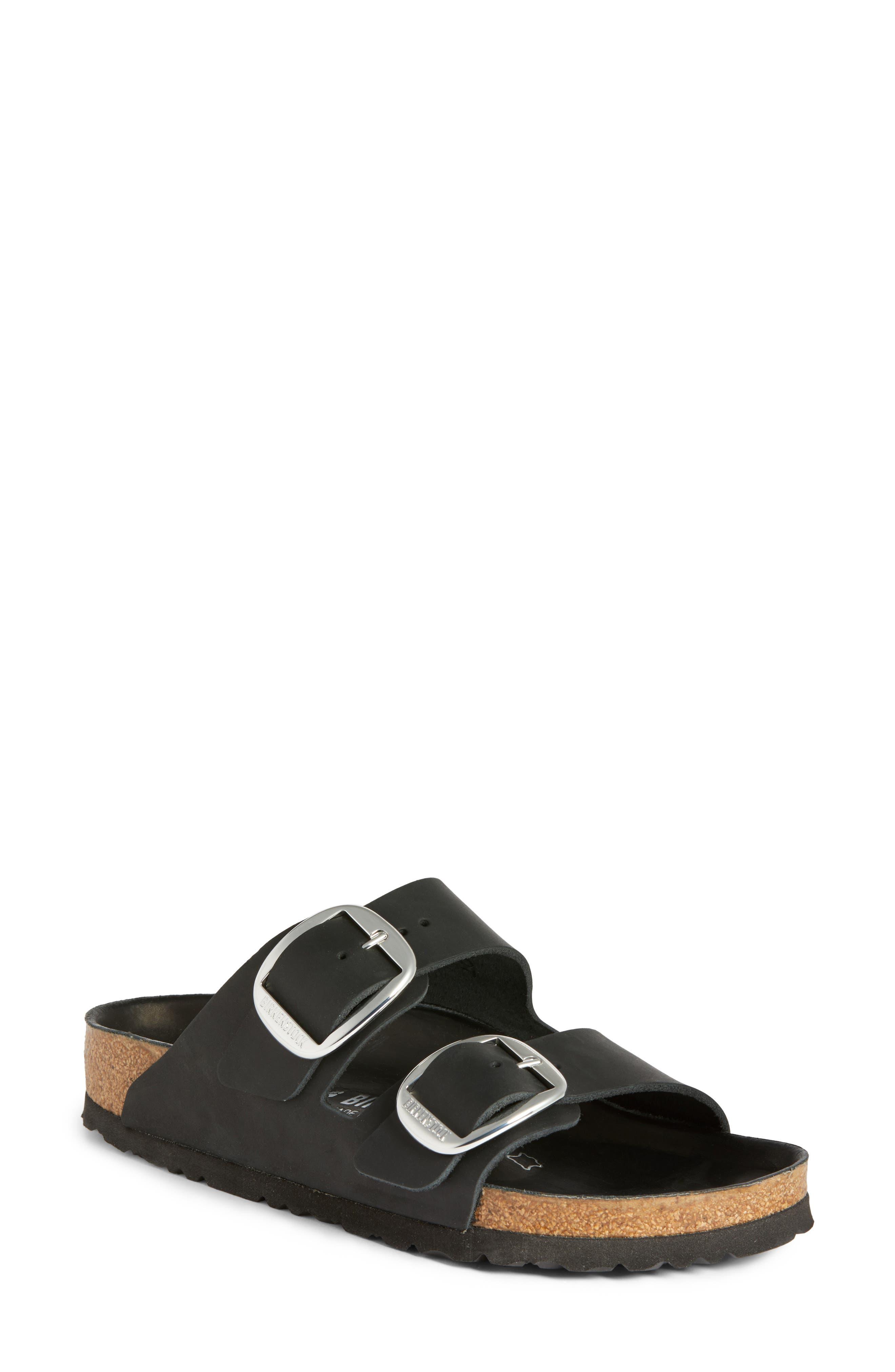 Arizona Big Buckle Slide Sandal,                             Main thumbnail 1, color,                             Black Leather