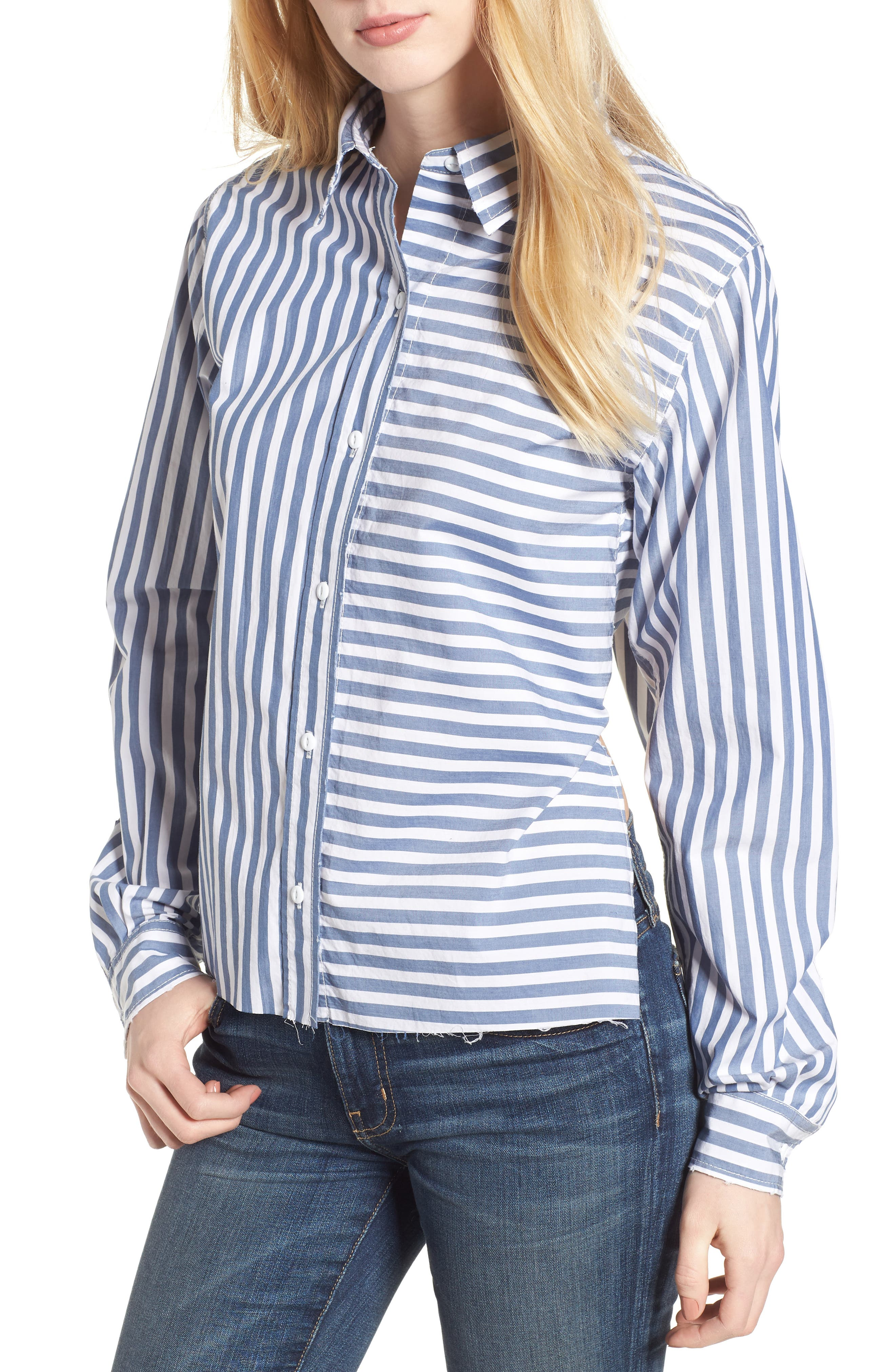 The Des Stripe Tie Back Shirt,                             Main thumbnail 1, color,                             Blue Lagoon Stripe